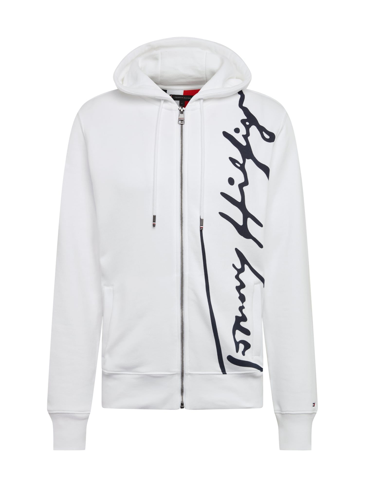 TOMMY HILFIGER Džemperis 'SIGNATURE HOODED ZIP THROUGH' balta