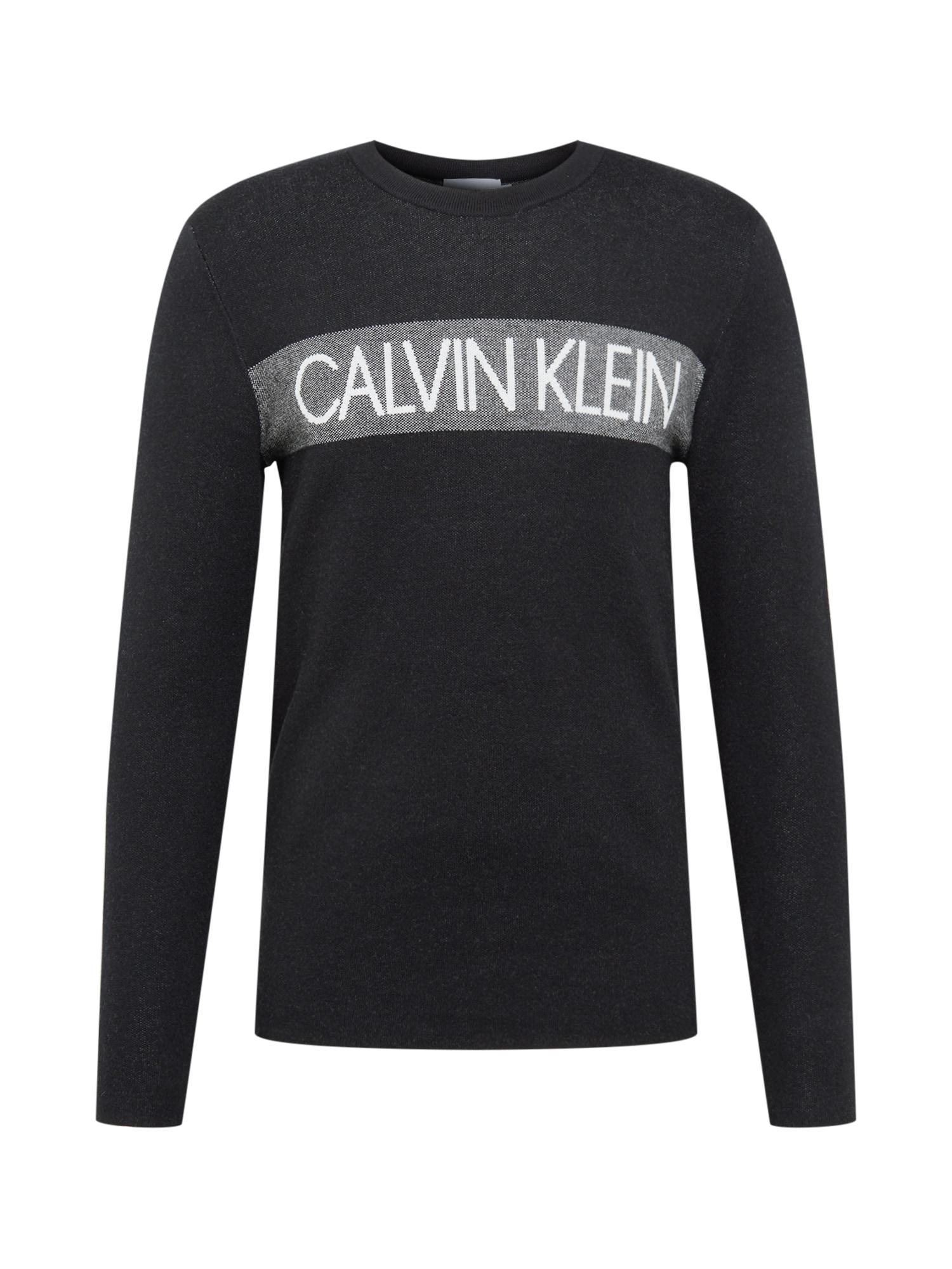 Calvin Klein Megztinis be užsegimo balta / juoda / pilka