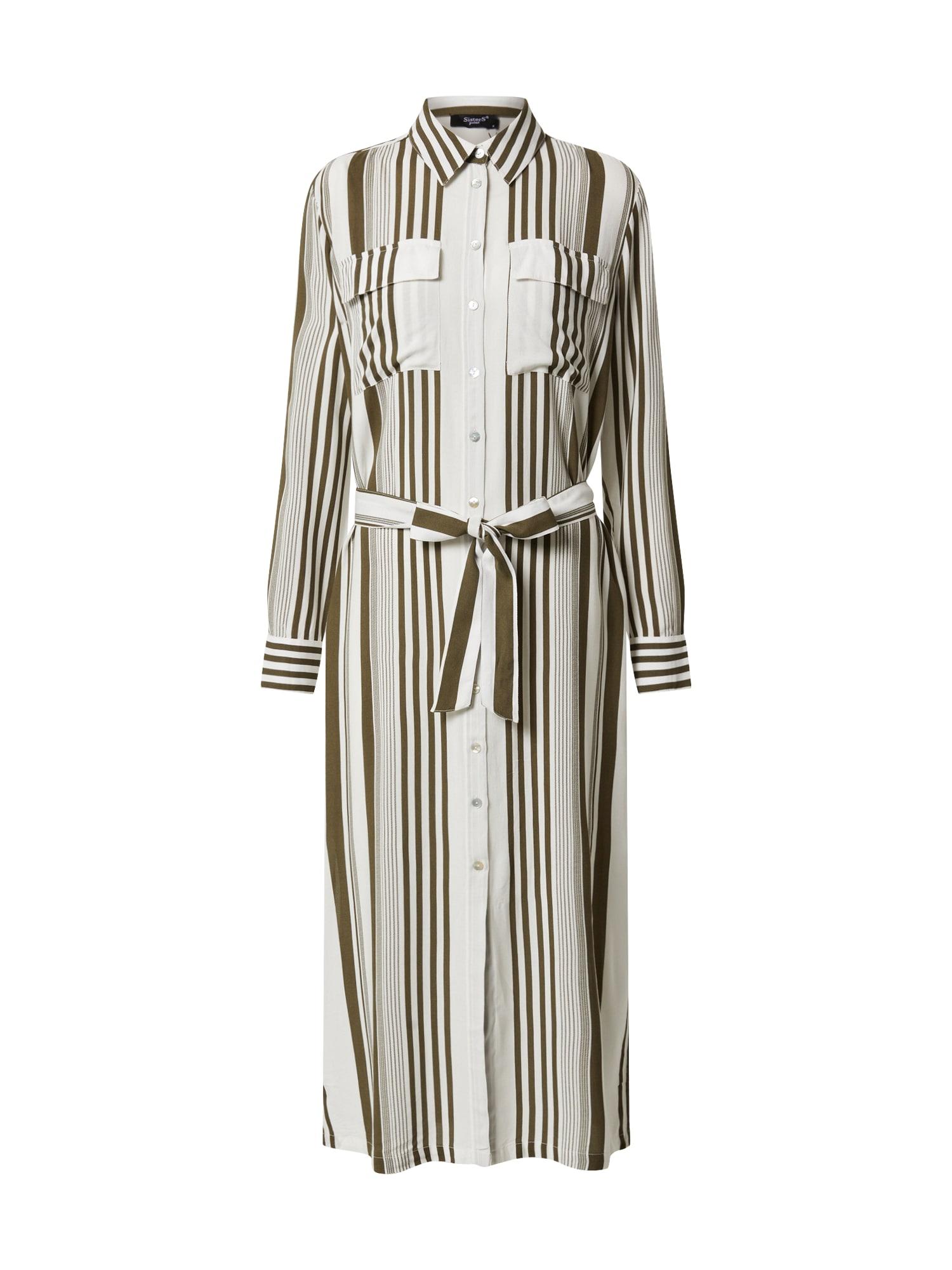 SISTERS POINT Košeľové šaty 'ISABEL-L.SH'  biela / kaki
