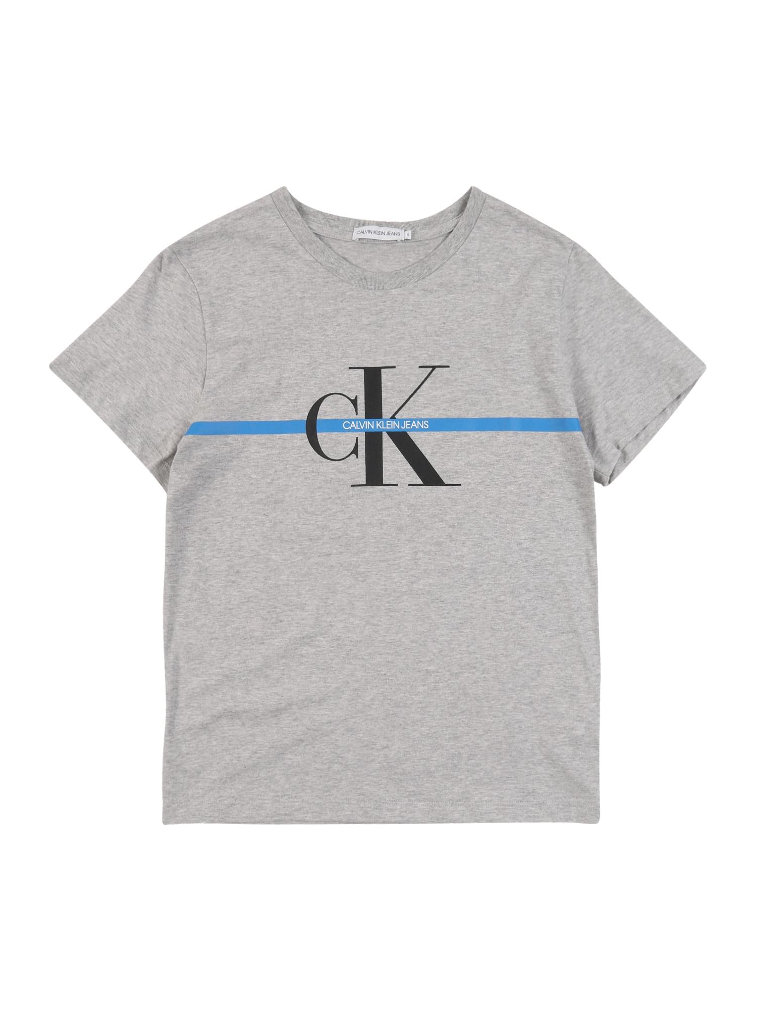 Calvin Klein Jeans Marškinėliai 'MONOGRAM ' margai pilka
