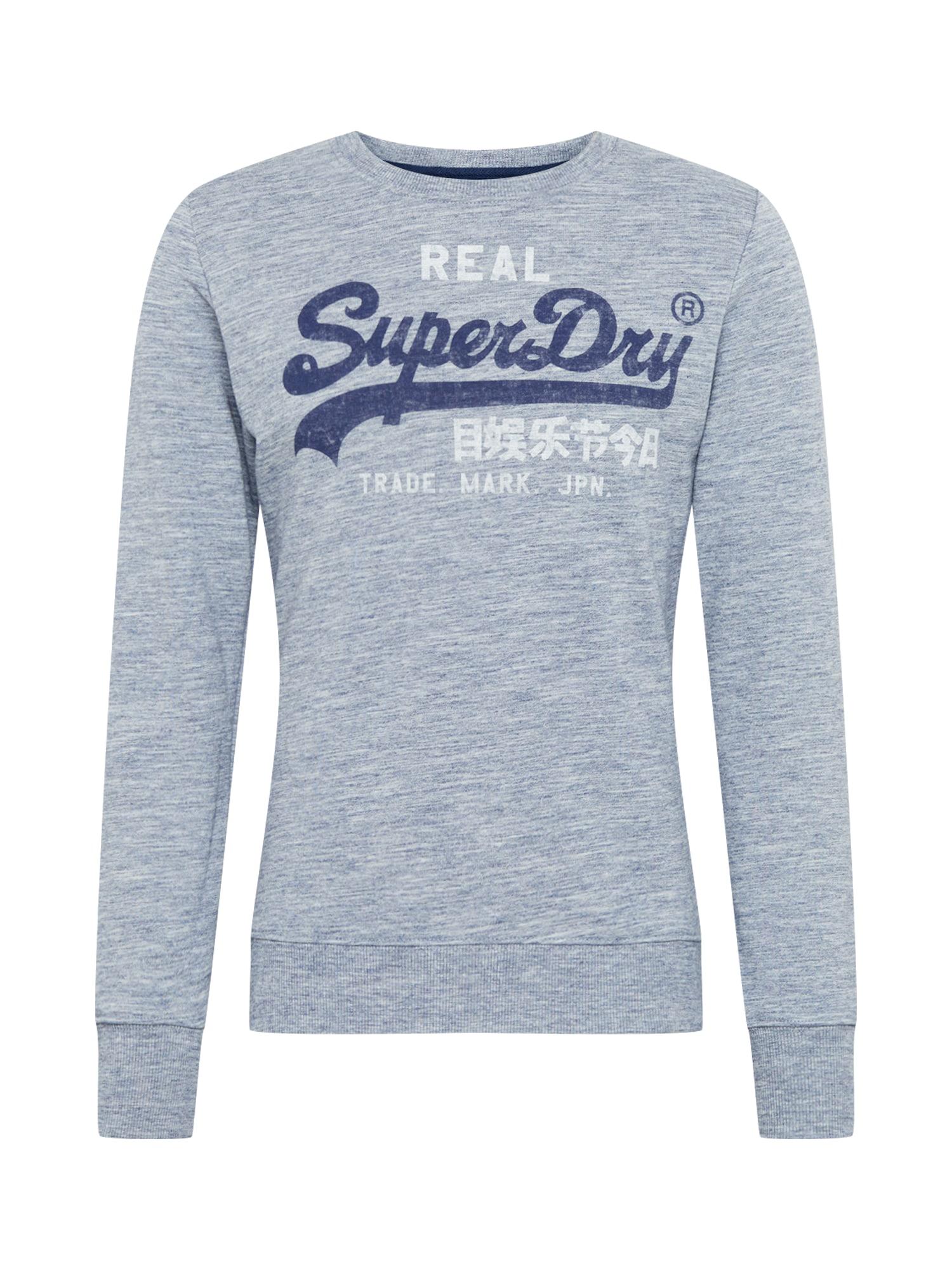 Superdry Mikina  sivá melírovaná / biela / námornícka modrá