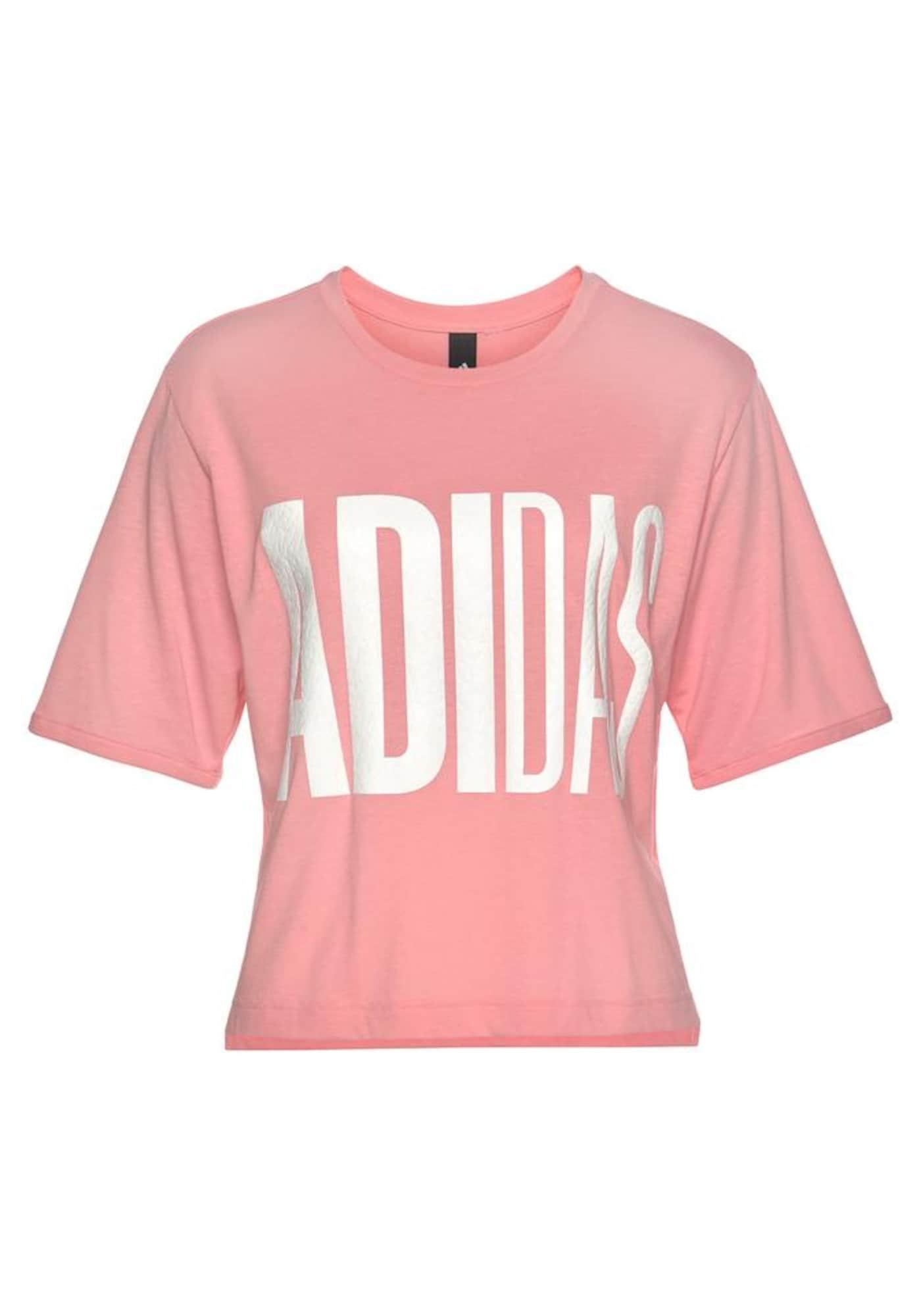 ADIDAS PERFORMANCE Sportiniai marškinėliai balta / rožių spalva
