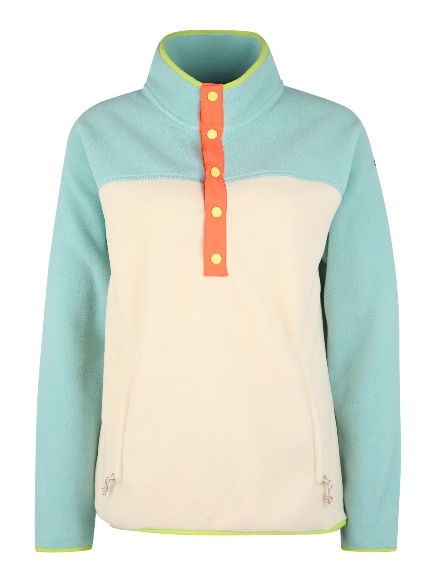 BURTON Funkcinis flisinis džemperis turkio spalva / kremo