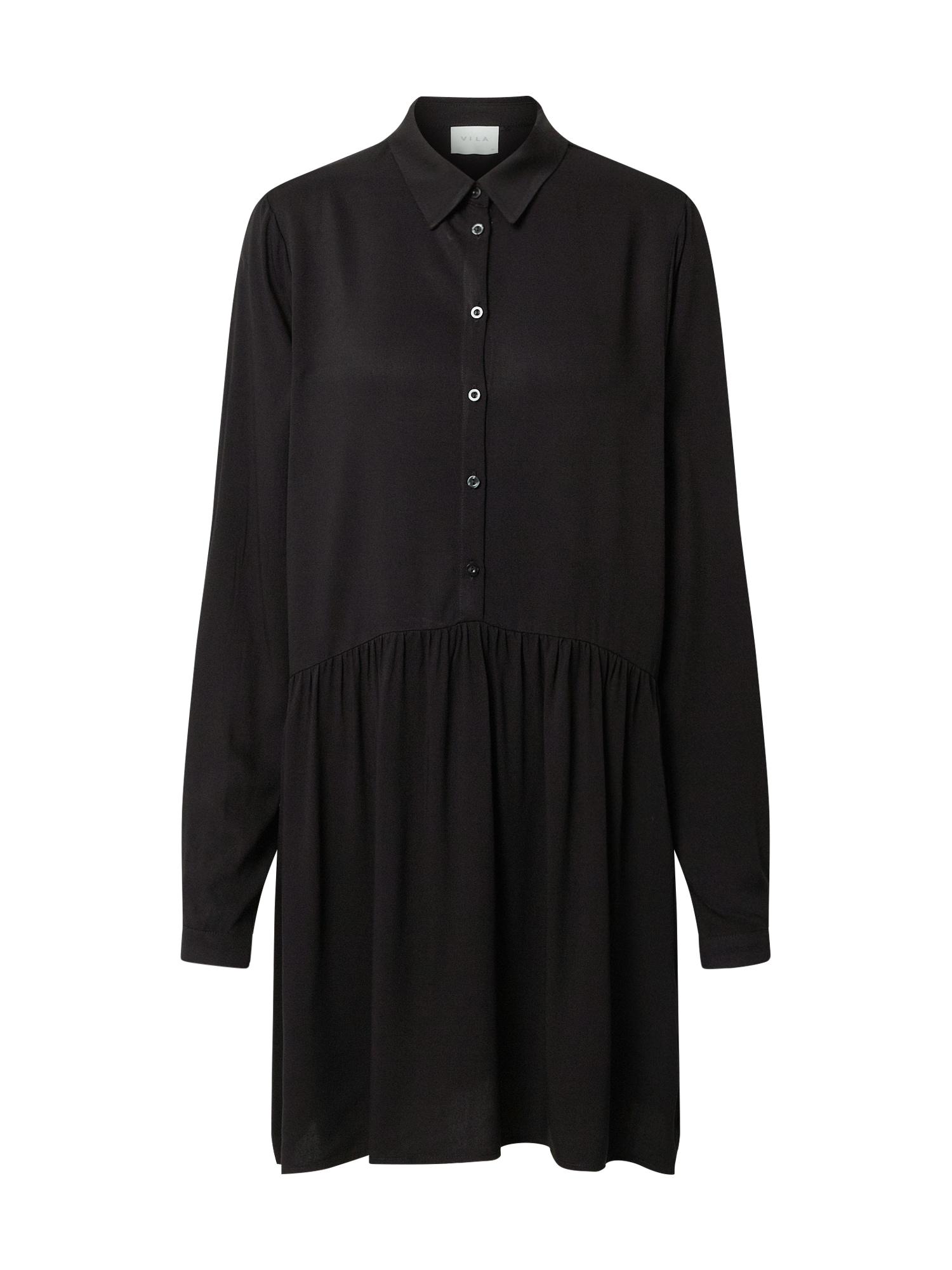 VILA Košeľové šaty 'Vidania'  čierna