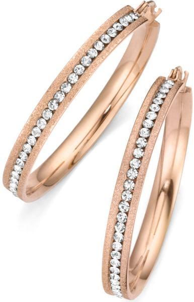 Ohrringe für Frauen - FIRETTI Paar Creolen mit Kristallsteinen rosegold  - Onlineshop ABOUT YOU