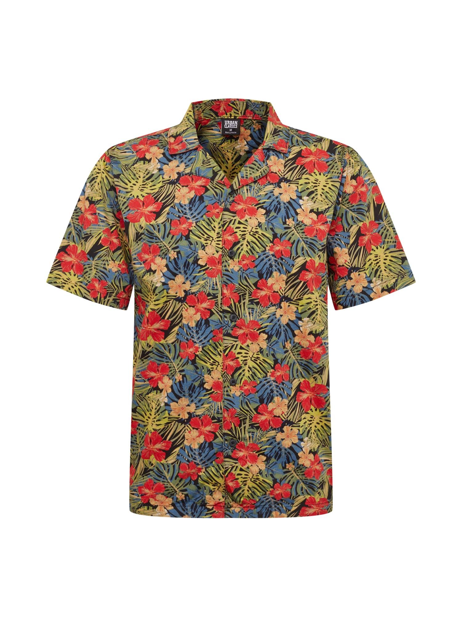 Urban Classics Košeľa 'Pattern Resort Shirt'  zelená / červené / čierna