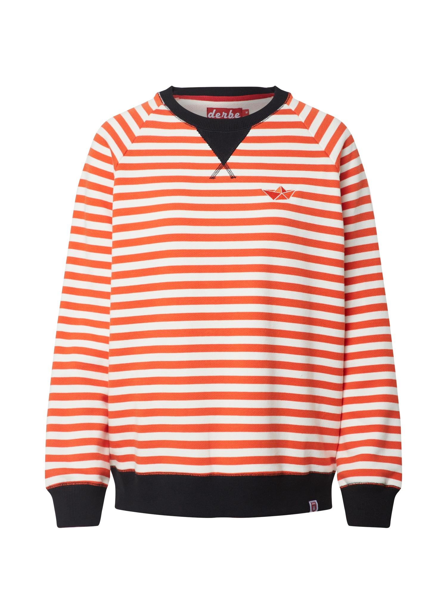 Derbe Megztinis be užsegimo juoda / oranžinė-raudona / kremo