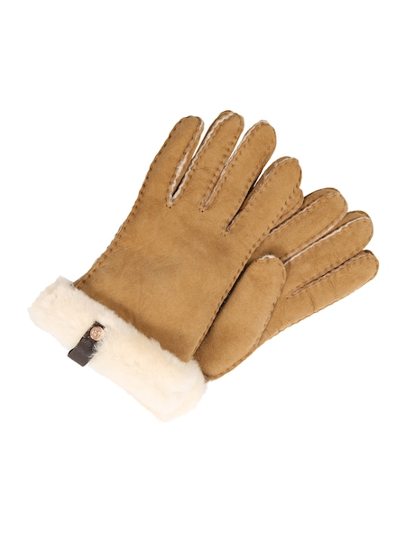 Handschuhe für Frauen - UGG Handschuhe 'Shorty Glove with leather trim' cappuccino  - Onlineshop ABOUT YOU