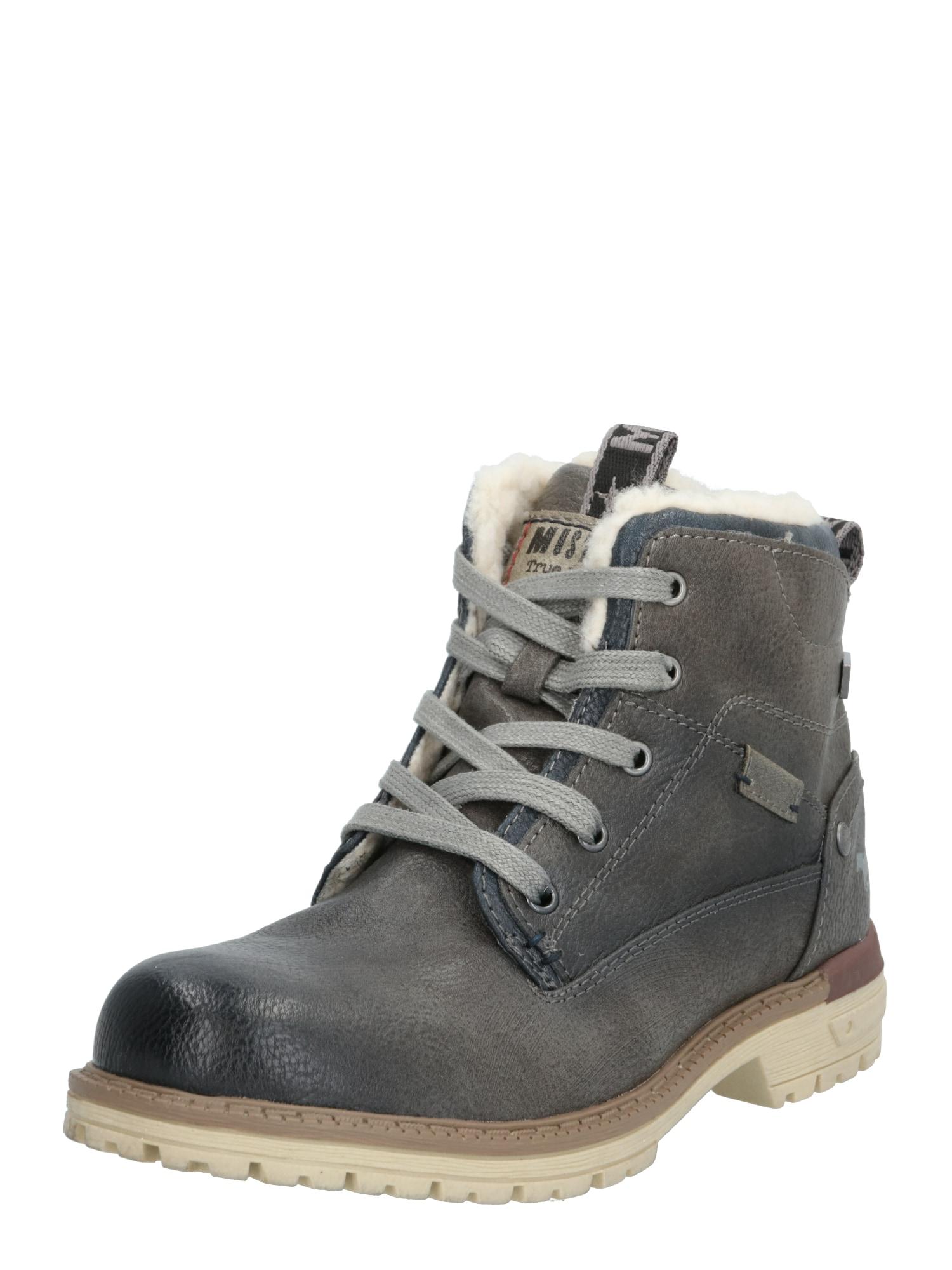 MUSTANG Auliniai batai su kulniuku tamsiai pilka