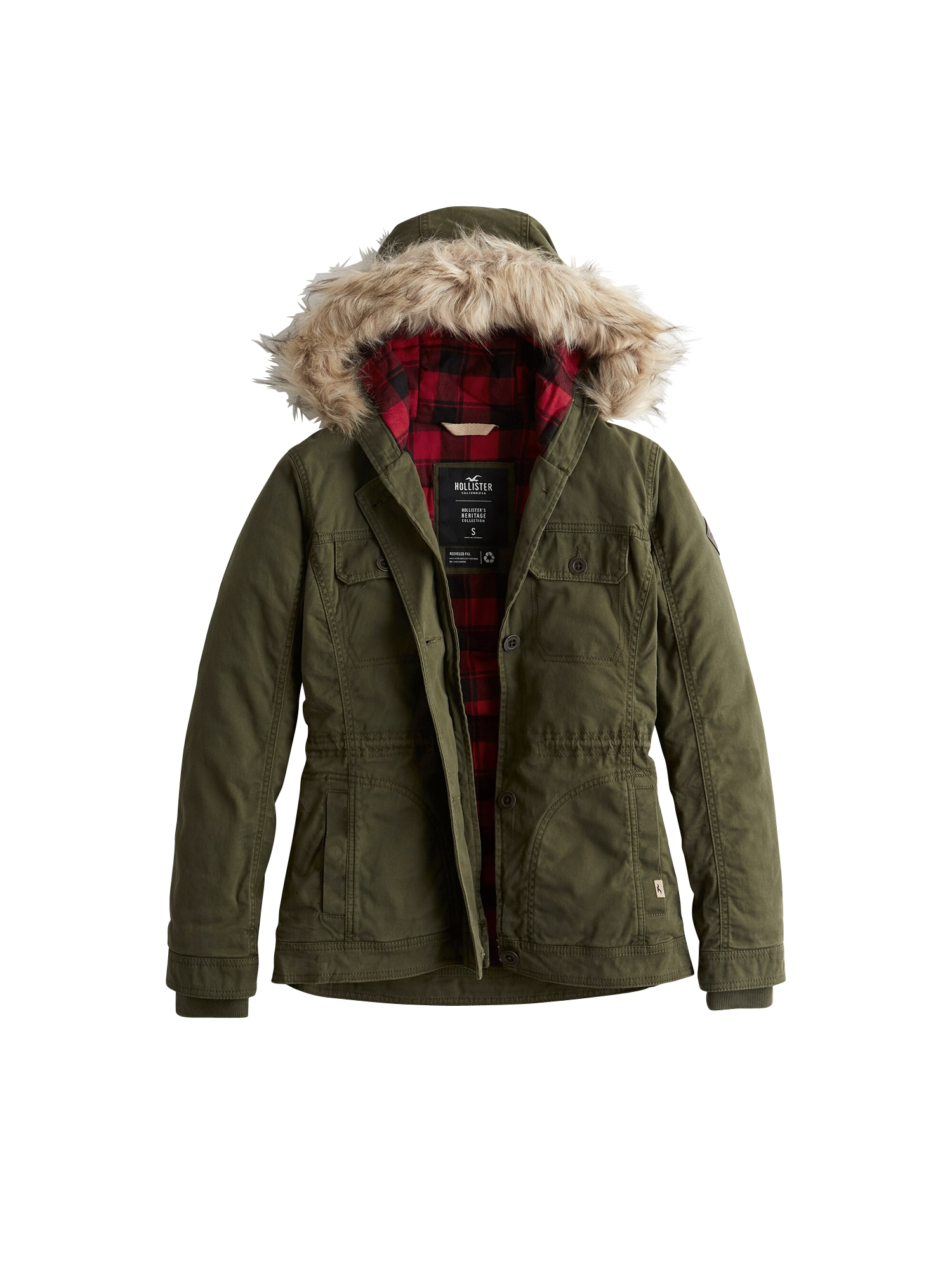 HOLLISTER Žieminė striukė 'LD19-DTC MIDWT LINED TWILL ANORAK 4CC' alyvuogių spalva