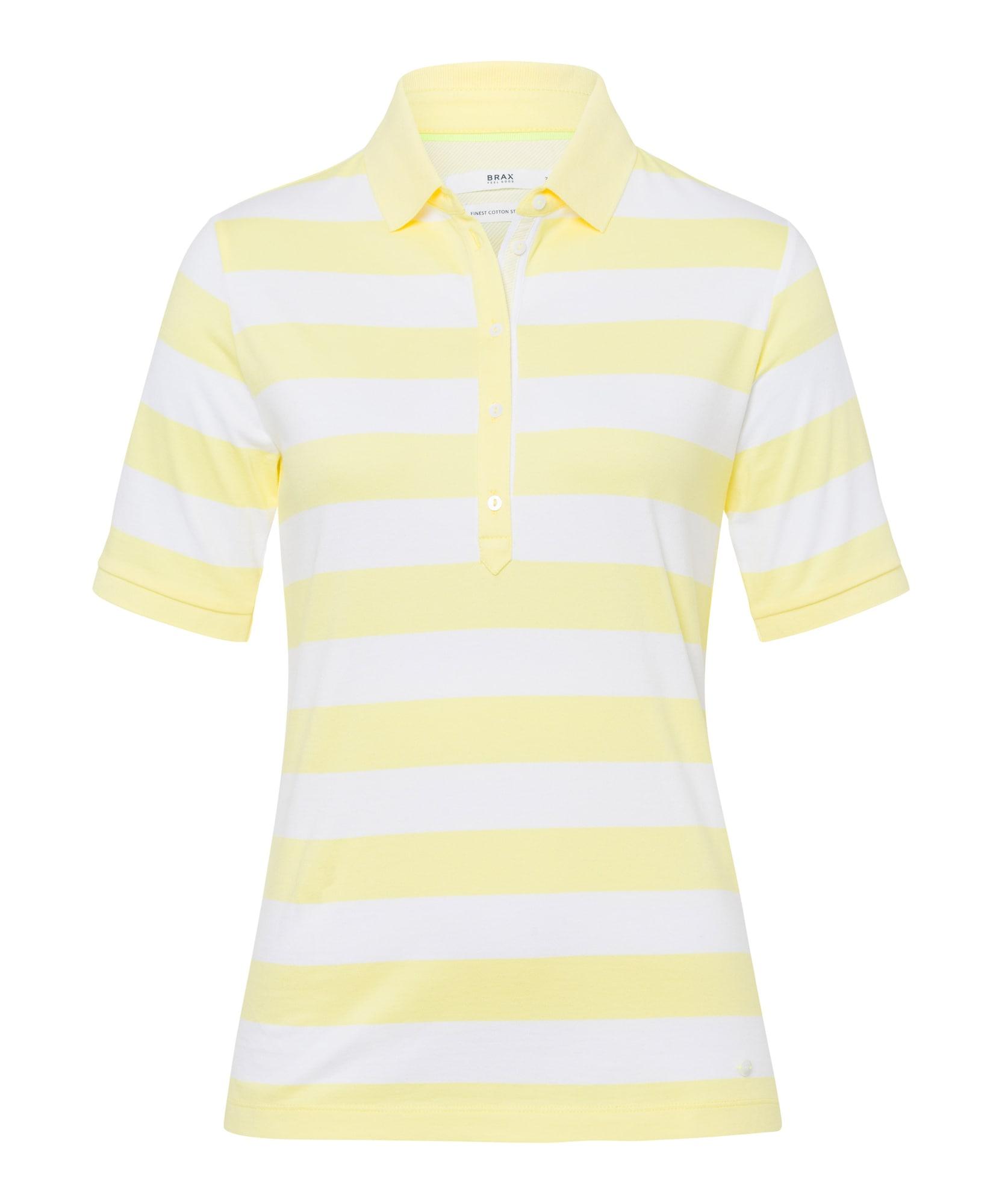 BRAX Marškinėliai 'Cleo' balta / geltona
