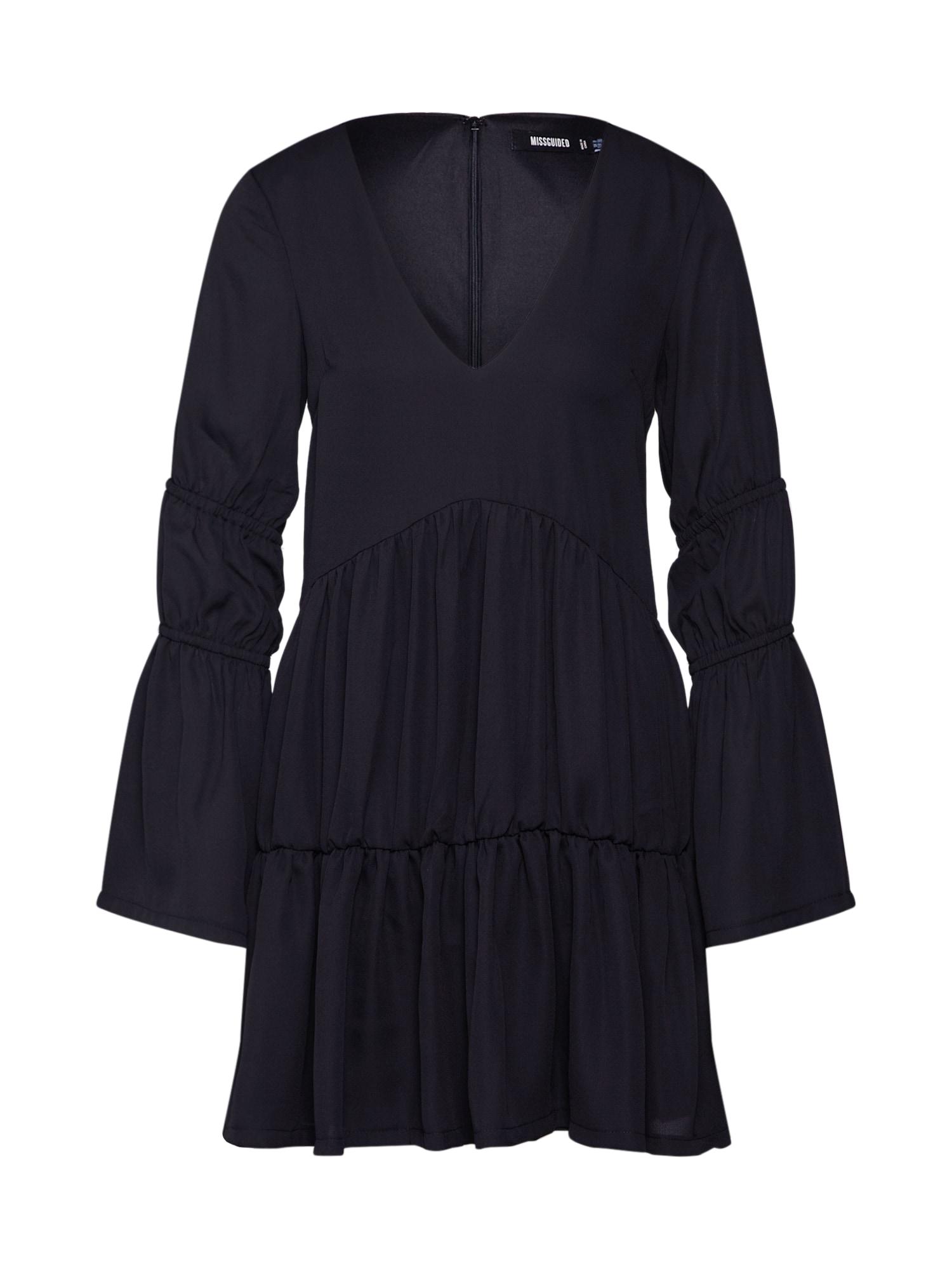 Missguided Rochie 'V NECK TIERED SMOCK DRESS'  negru