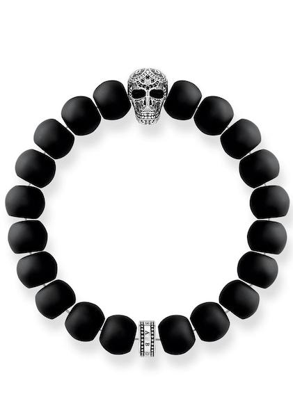 Armbaender für Frauen - Thomas Sabo Armband 'Power Bracelet Maori Totenkopf, A1702 705 11' schwarz silber  - Onlineshop ABOUT YOU