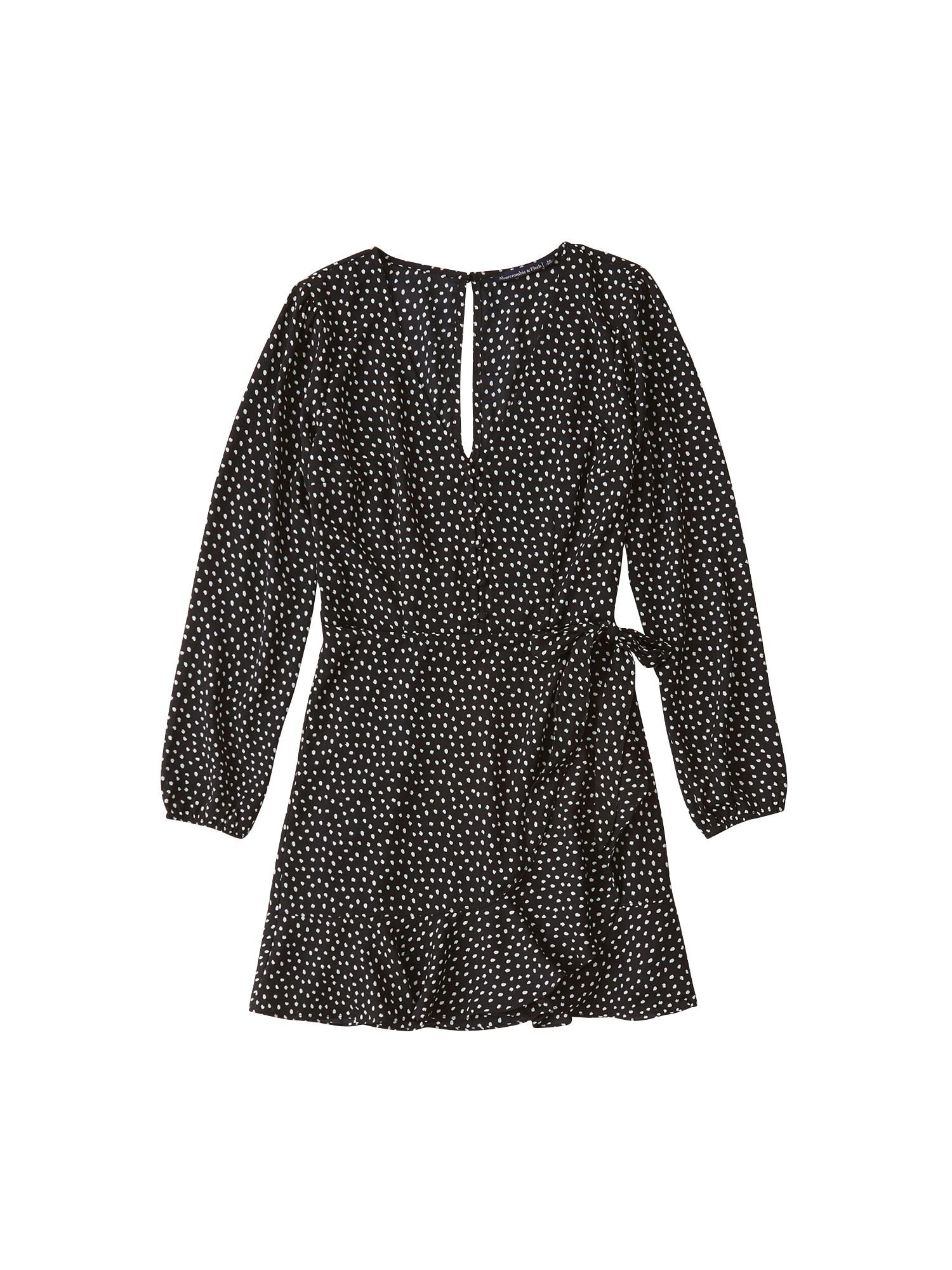 Abercrombie & Fitch Vasarinė suknelė 'XM19-WRAP LACE PIECED PRINT DRESS 2CC' juoda
