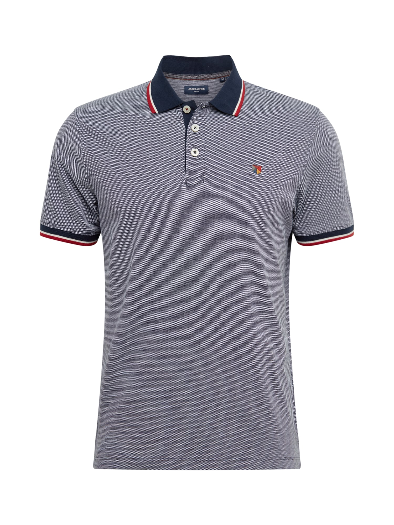 JACK & JONES Tričko  biela / modrosivá / námornícka modrá / červené