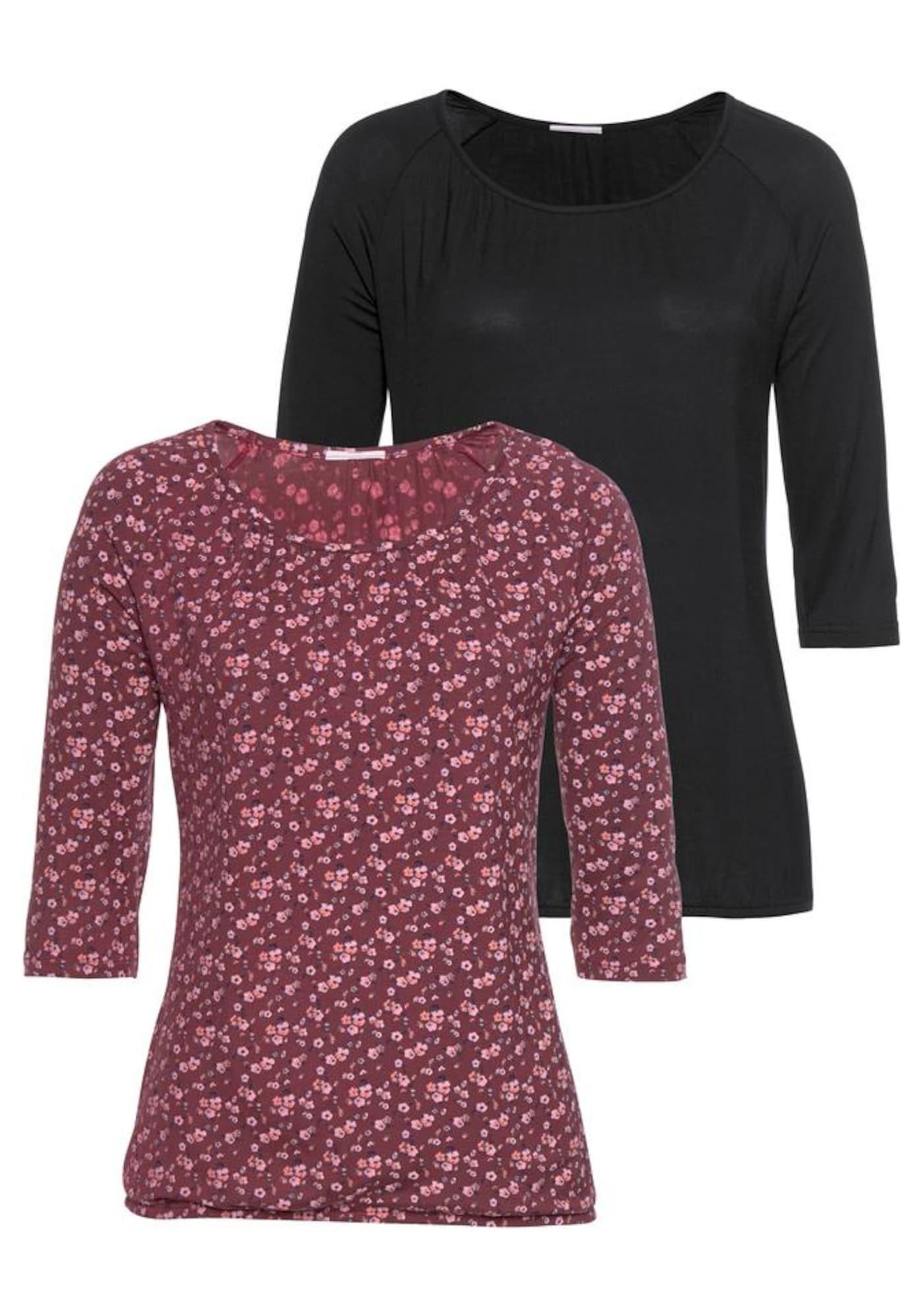 VIVANCE Marškinėliai pastelinė raudona / juoda