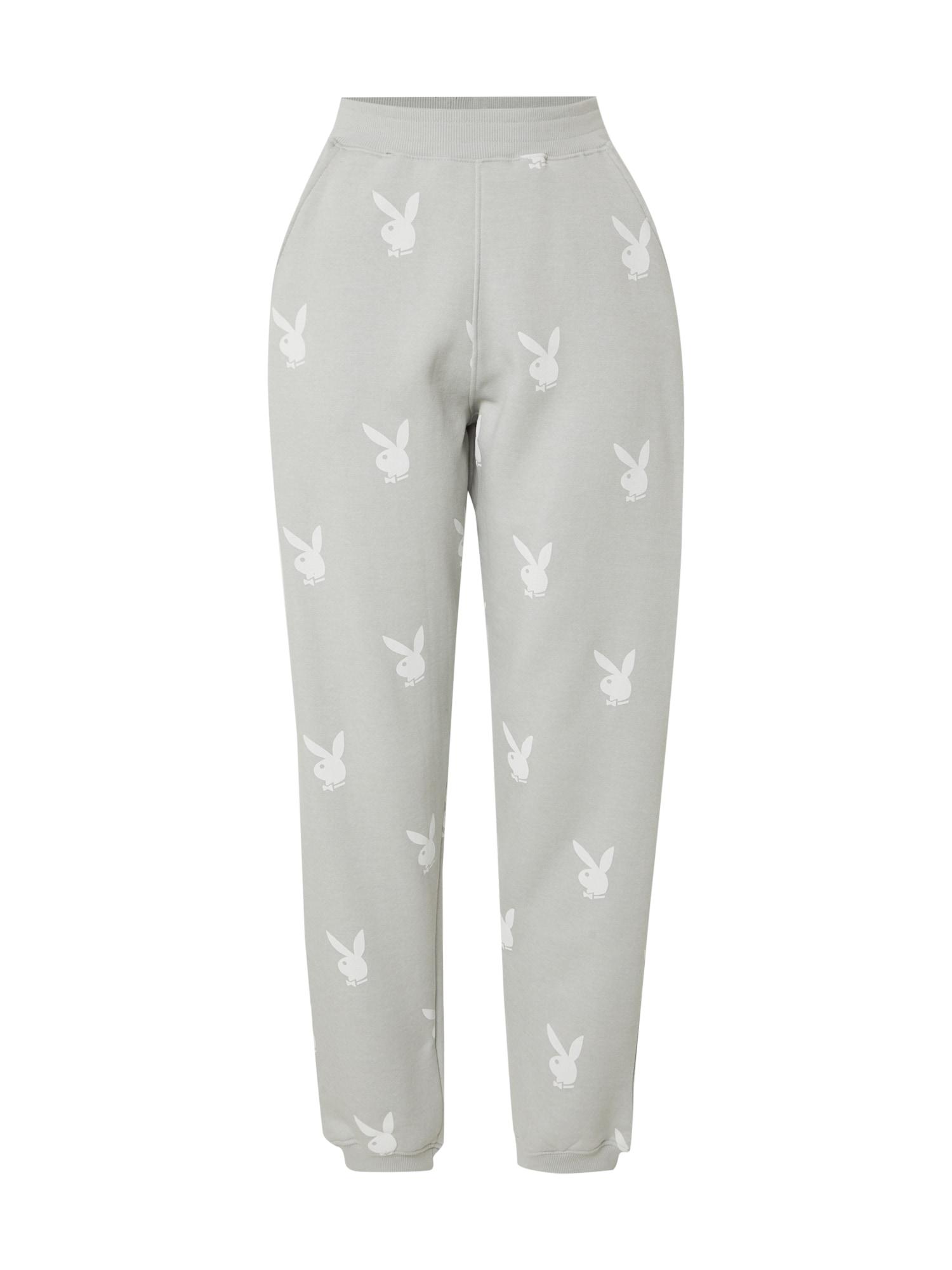 Missguided Pantaloni 'PLAYBOY'  gri / alb