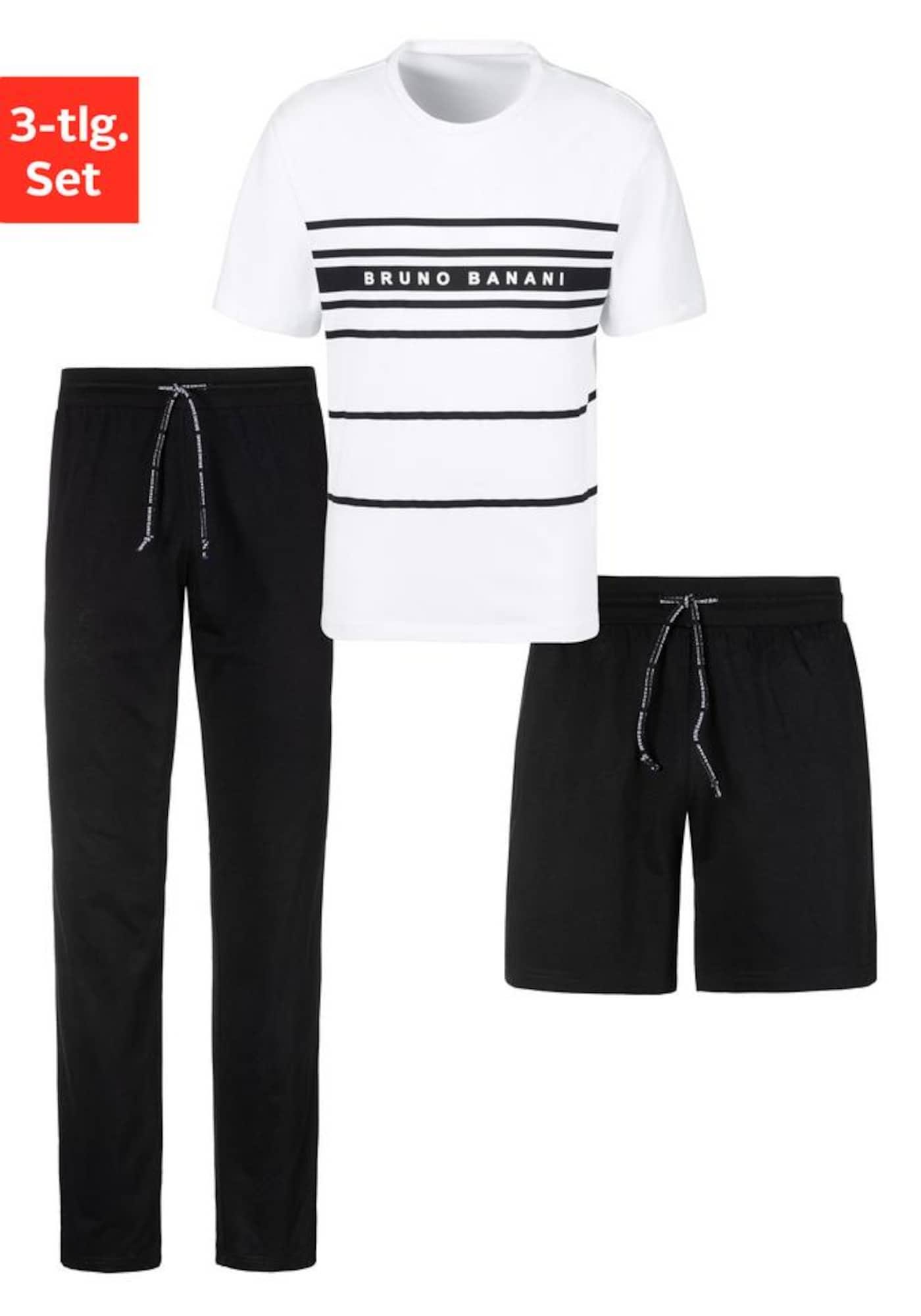 BRUNO BANANI Ilga pižama juoda / balta