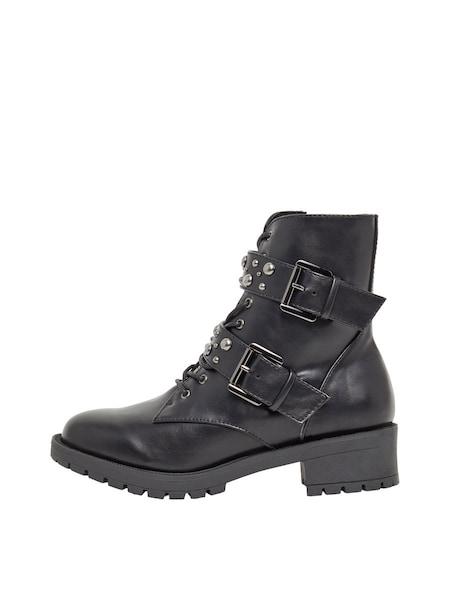 Stiefel für Frauen - Doppelriemen Nieten Biker Boots › Bianco › schwarz  - Onlineshop ABOUT YOU
