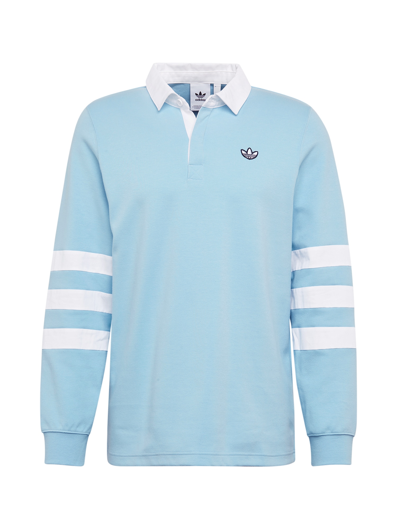 ADIDAS ORIGINALS Marškinėliai 'RUGBY' šviesiai mėlyna / balta
