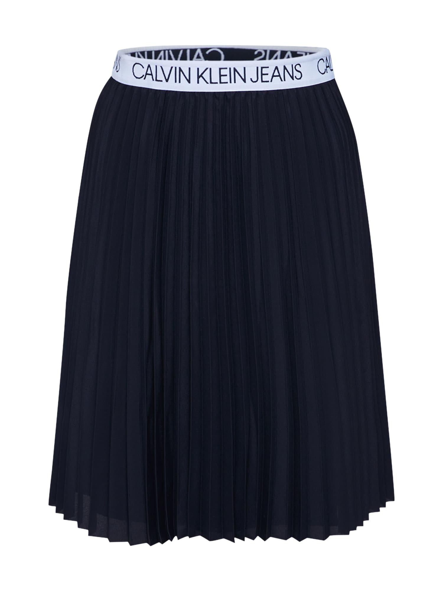 Calvin Klein Jeans Sijonas 'LOGO ELASTIC PLEATED' balta / juoda
