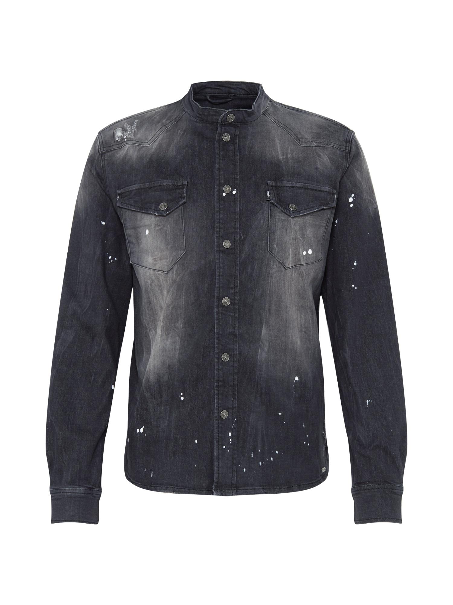 tigha Dalykiniai marškiniai 'Freddy 6965 patched' juodo džinso spalva