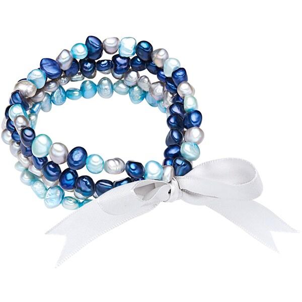 Armbaender für Frauen - Valero Pearls Armband mit Süßwasser Zuchtperlen hellblau dunkelblau hellgrau  - Onlineshop ABOUT YOU