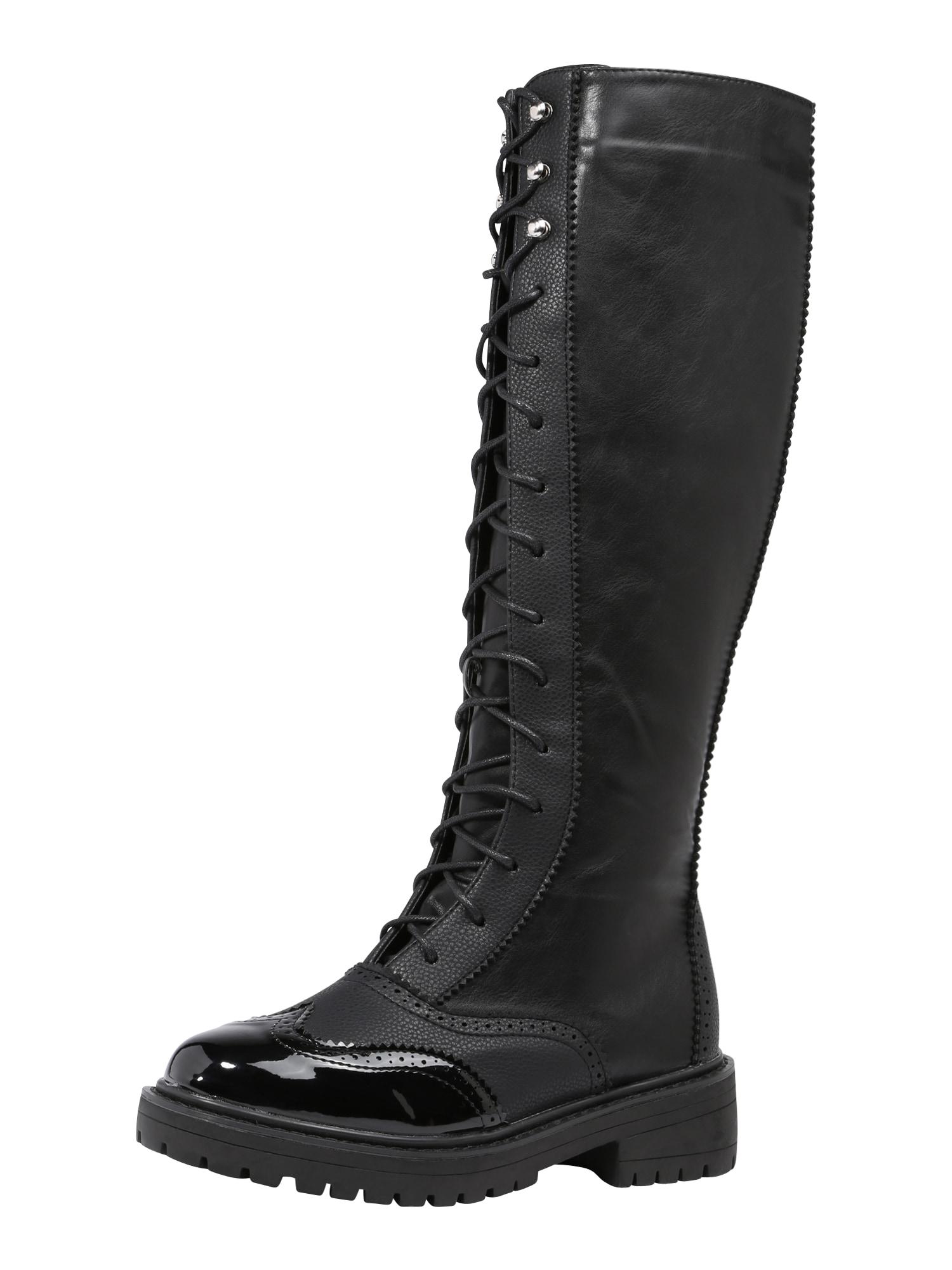 Šněrovací boty černá Lost Ink