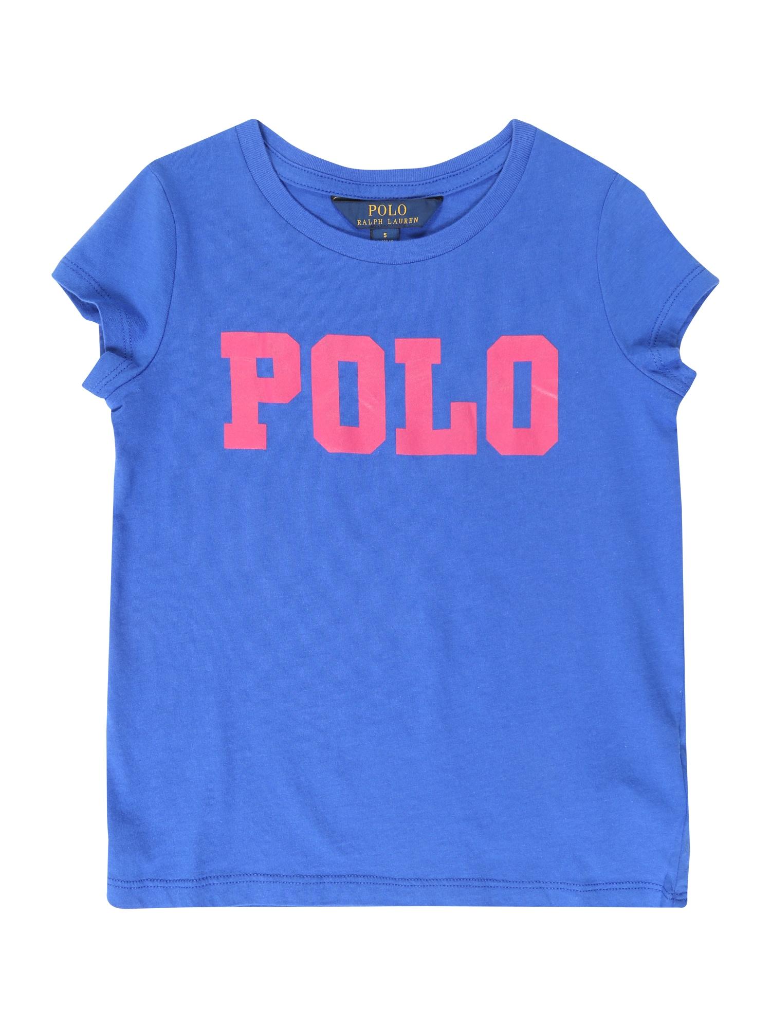 Tričko COTTON ENZYME modrá tmavě růžová POLO RALPH LAUREN