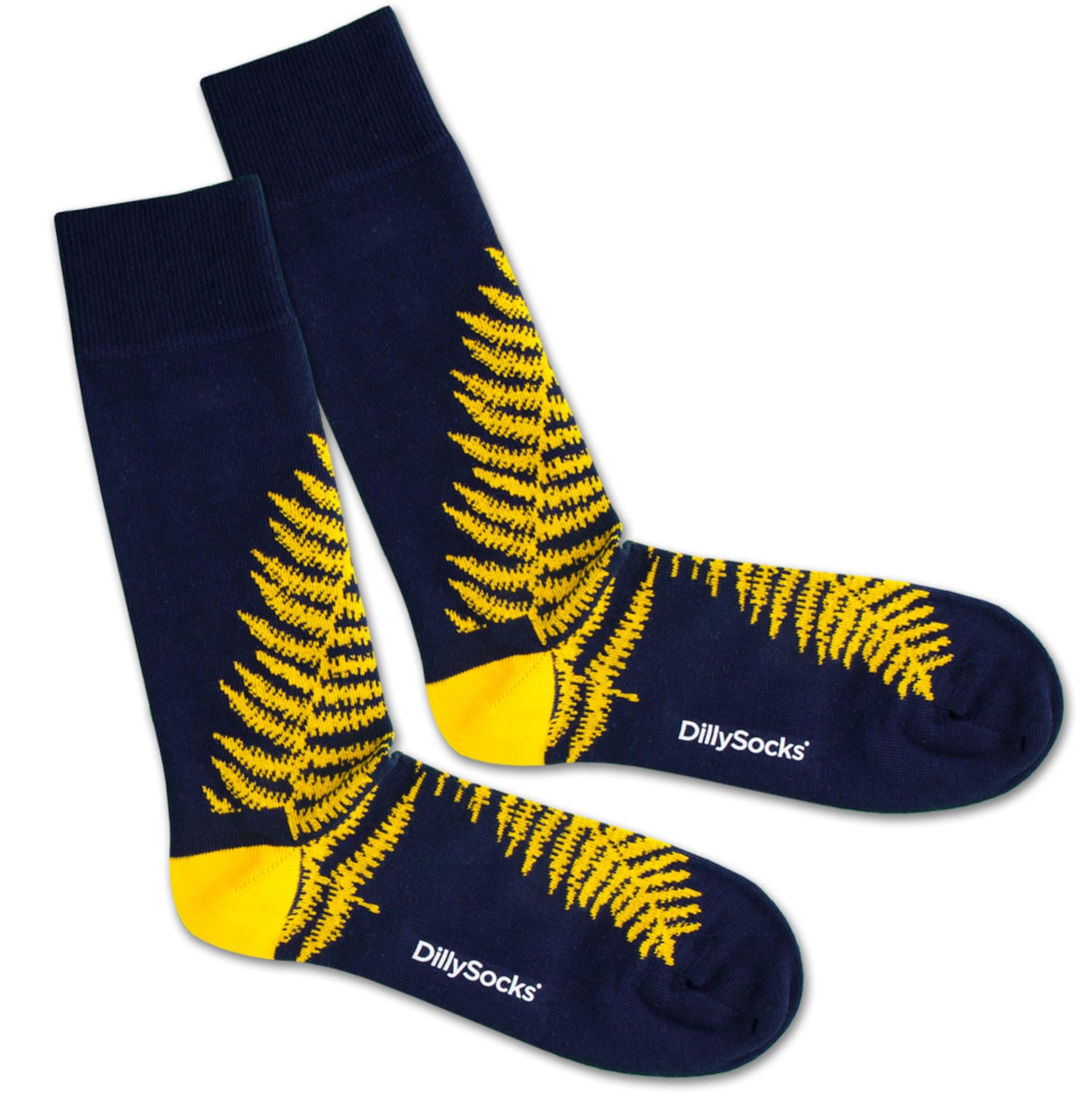 Ponožky Blue Fern modrá žlutá DillySocks