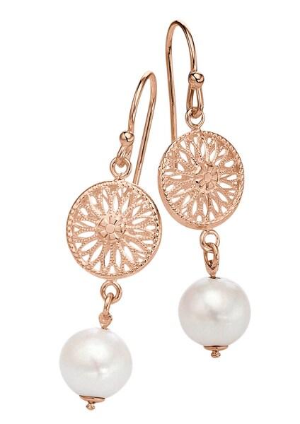 Ohrringe für Frauen - FIRETTI Ohrschmuck Paar Ohrhaken ''Sonne'' mit Perle rosegold  - Onlineshop ABOUT YOU