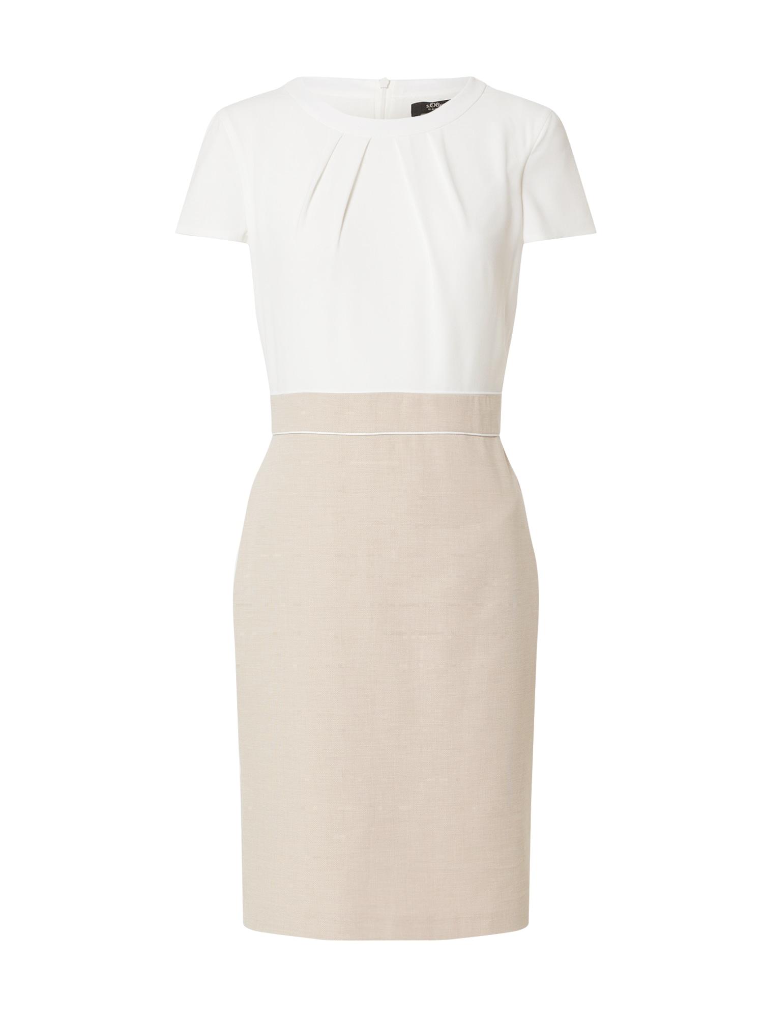 s.Oliver BLACK LABEL Trumpa kokteilinė suknelė šviesiai ruda / balta