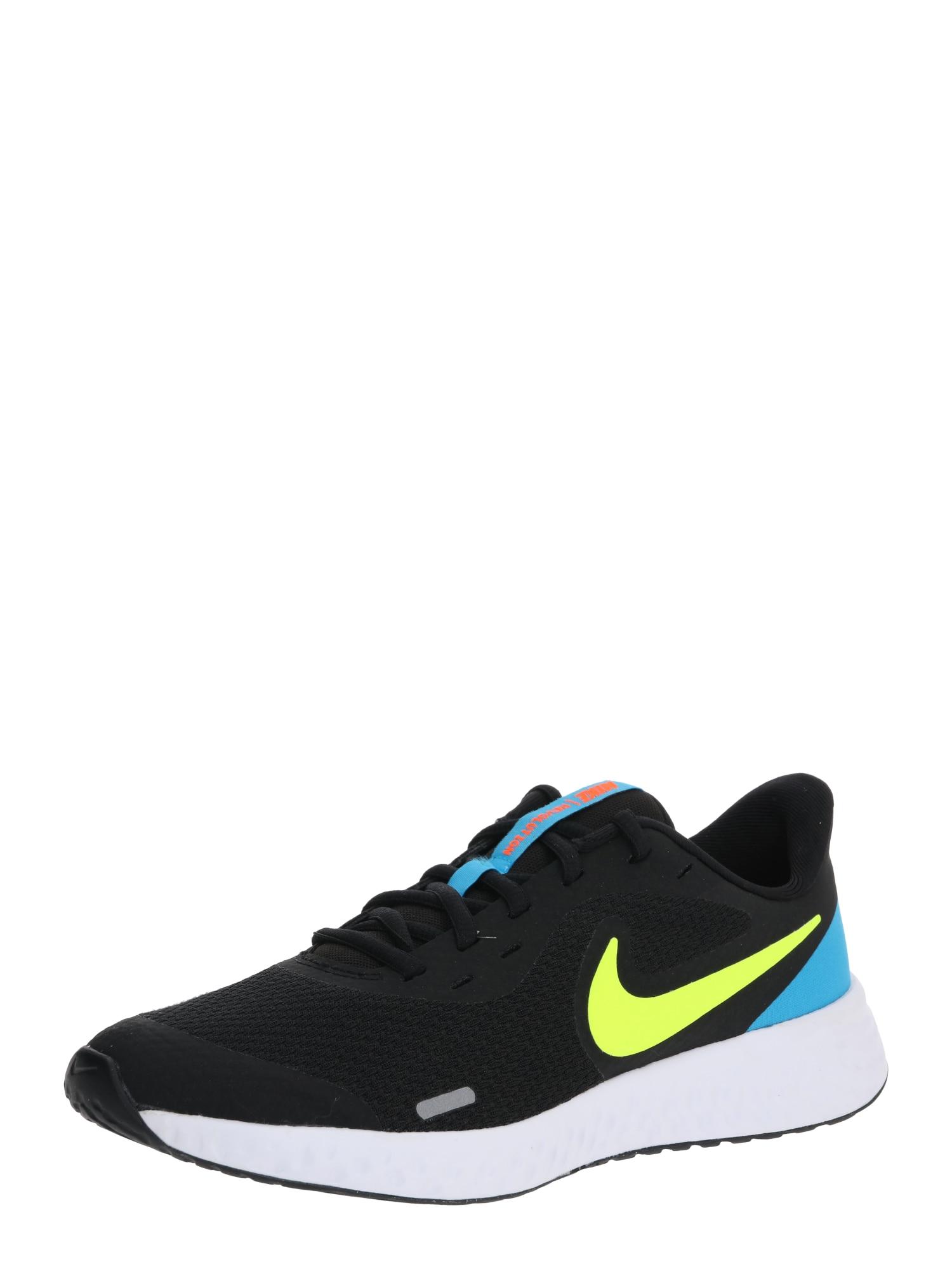 NIKE Sportiniai batai 'Revolution 5' mėlyna / neoninė geltona / juoda