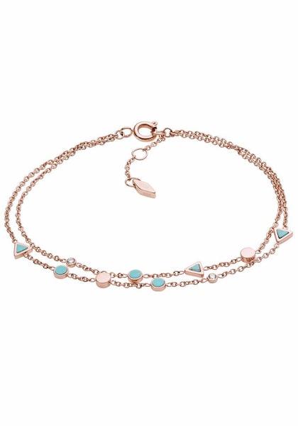 Armbaender für Frauen - FOSSIL Armband 'Dreieck, FASHION, JF02642791' türkis rosegold  - Onlineshop ABOUT YOU