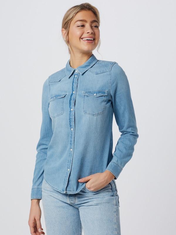 Vero Moda Maria schmales Jeanshemd mit langen Ärmeln