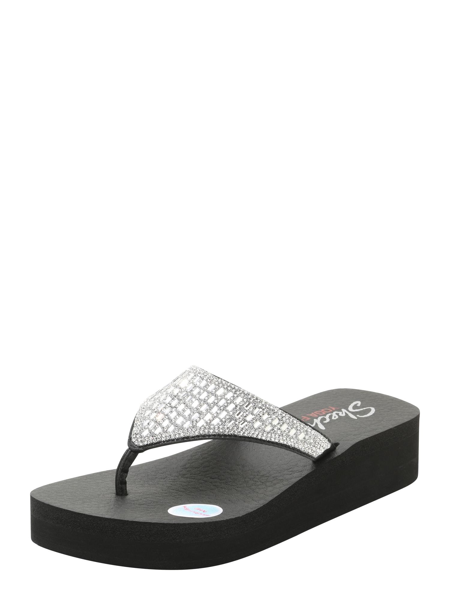 Žabky Hooded Caviar Rhinestone černá stříbrná SKECHERS