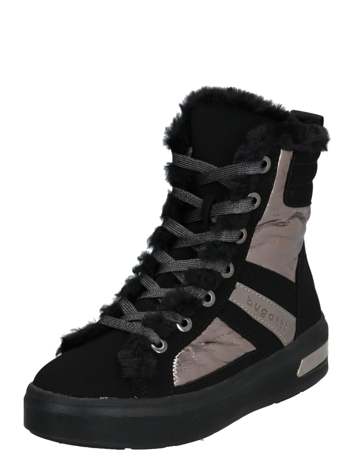 bugatti Auliniai batai su kulniuku 'Milka' juoda / sidabras