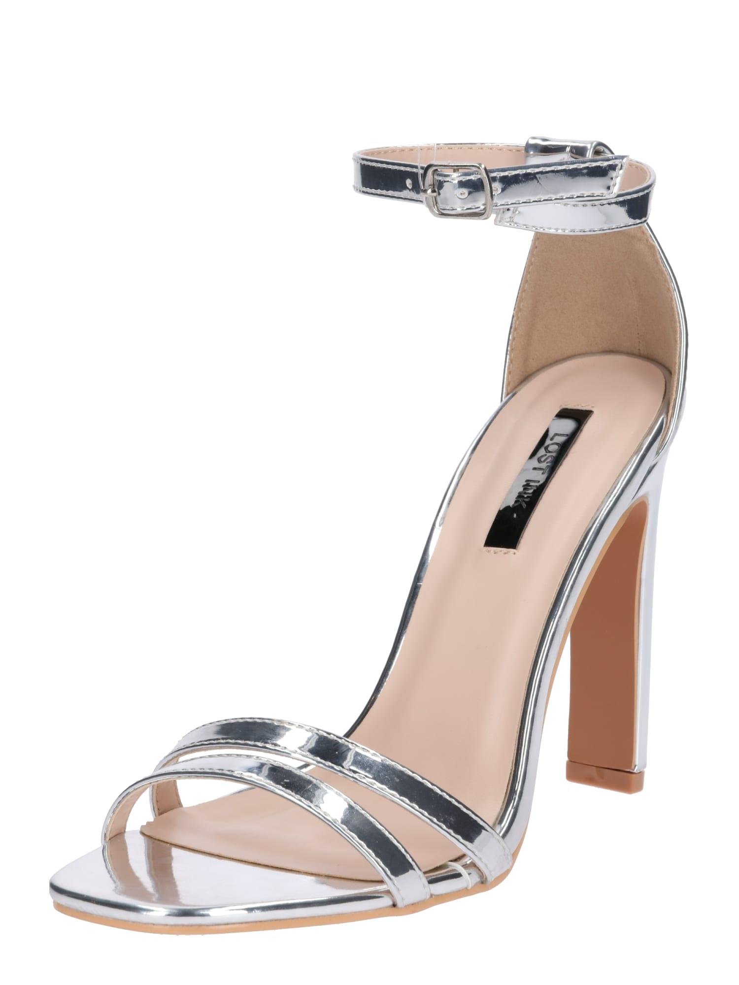 Páskové sandály stříbrná Lost Ink