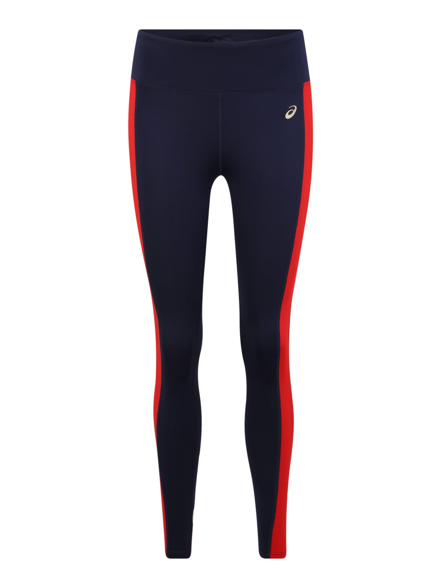 ASICS Sportinės kelnės 'W TOKYO TRAIN TIGHT' balta / raudona / tamsiai mėlyna