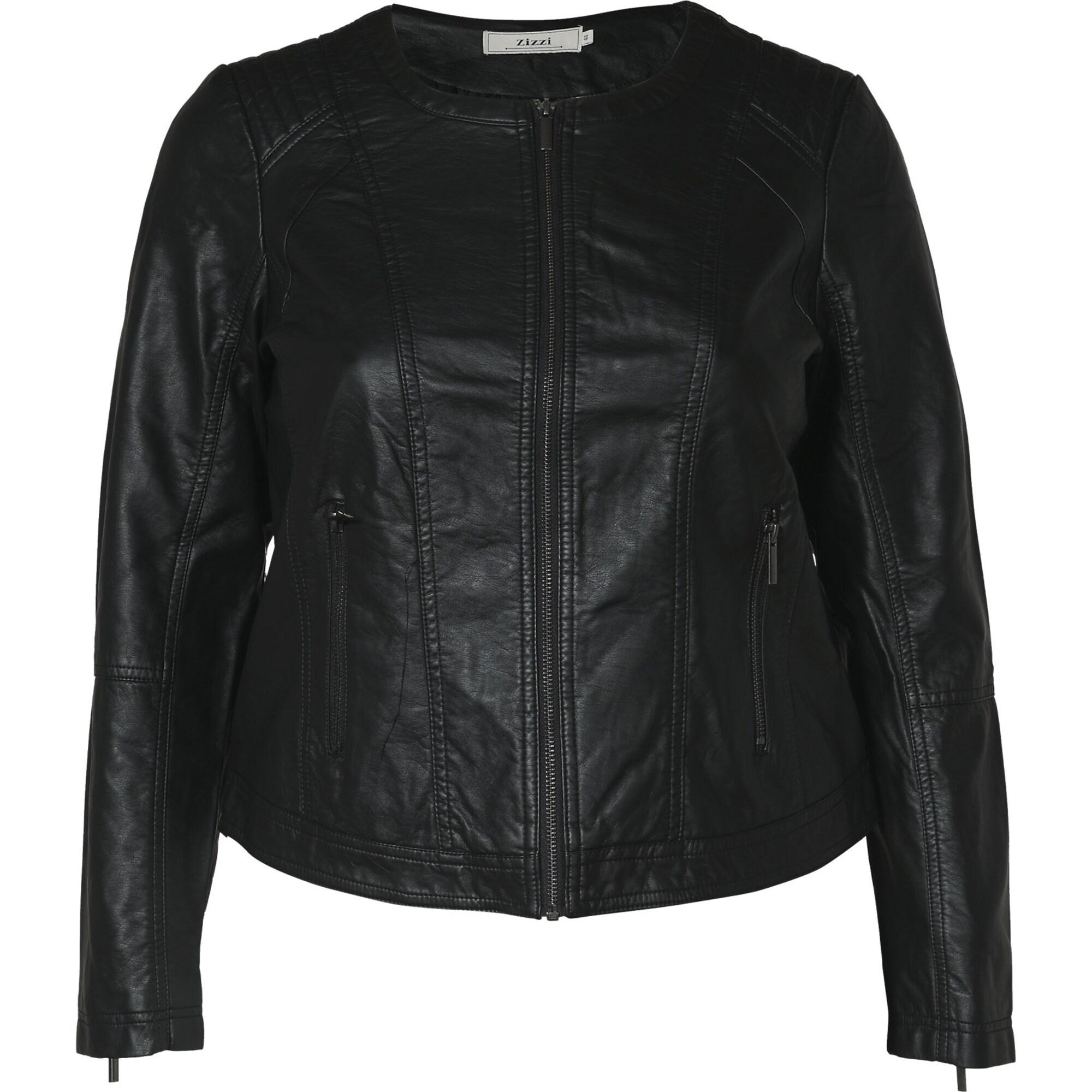 Přechodná bunda Imitated leather jacket černá Zizzi