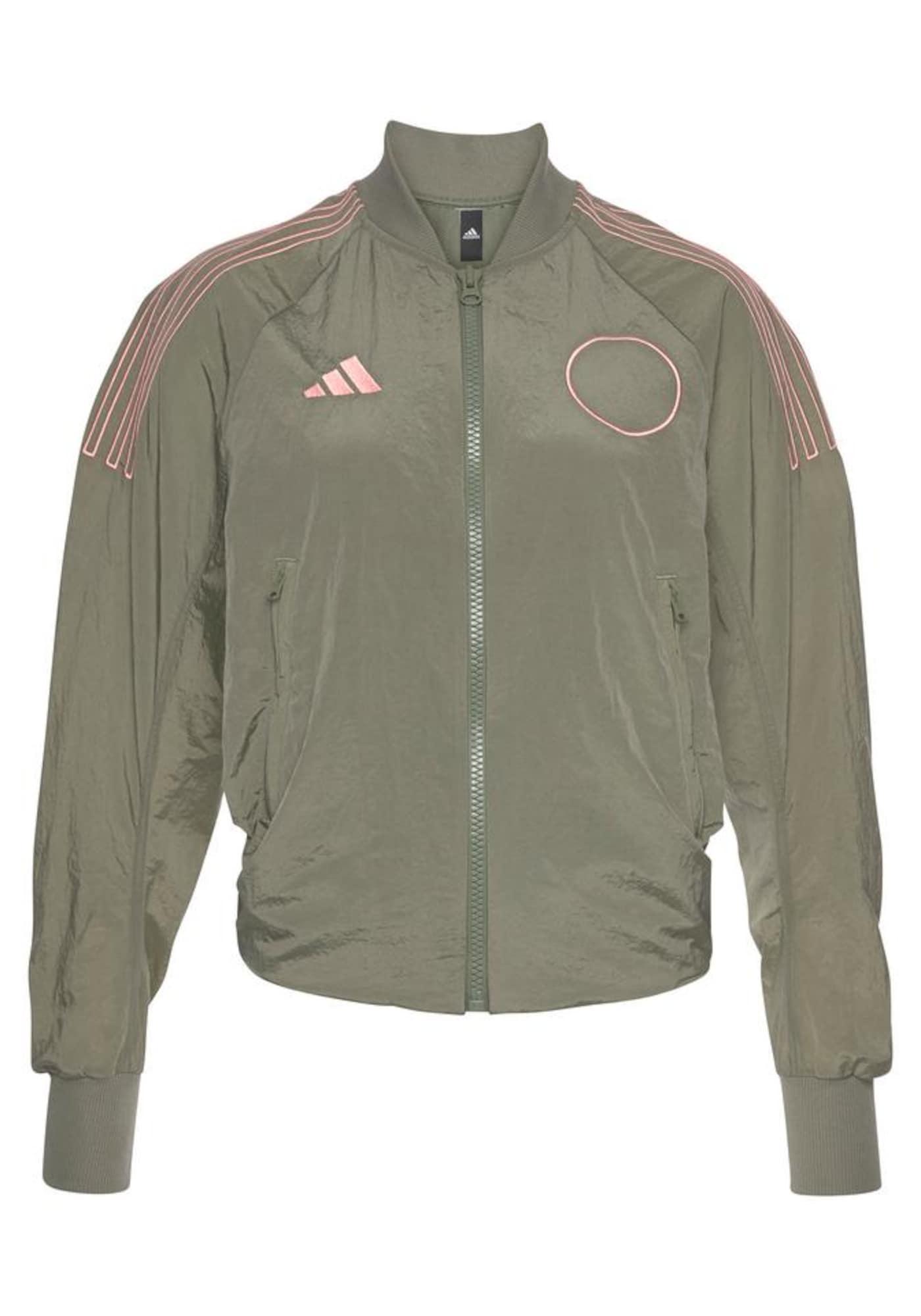 ADIDAS PERFORMANCE Sportinė striukė šviesiai rožinė / alyvuogių spalva
