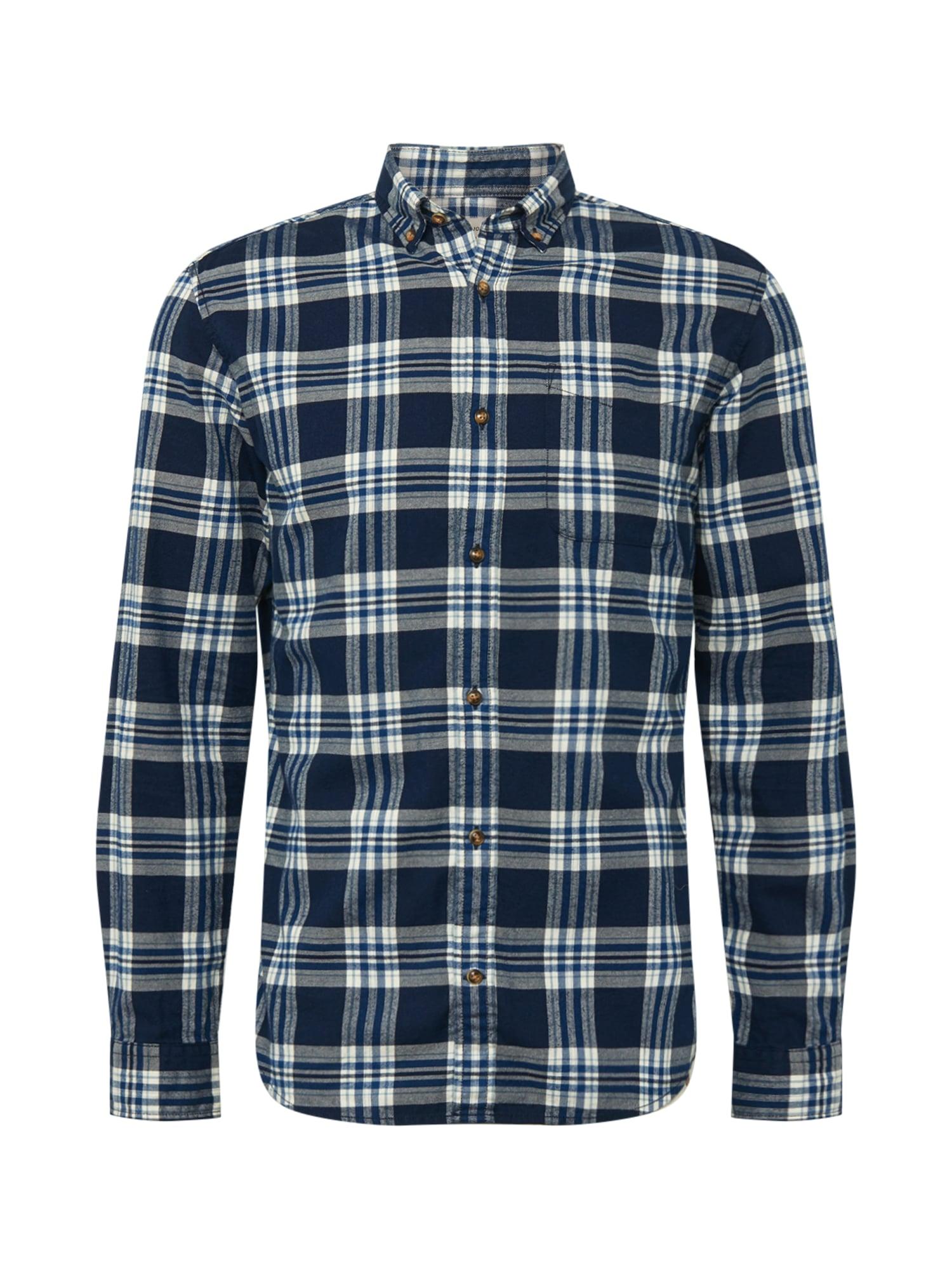 JACK & JONES Marškiniai tamsiai mėlyna jūros spalva / melsvai pilka / balta
