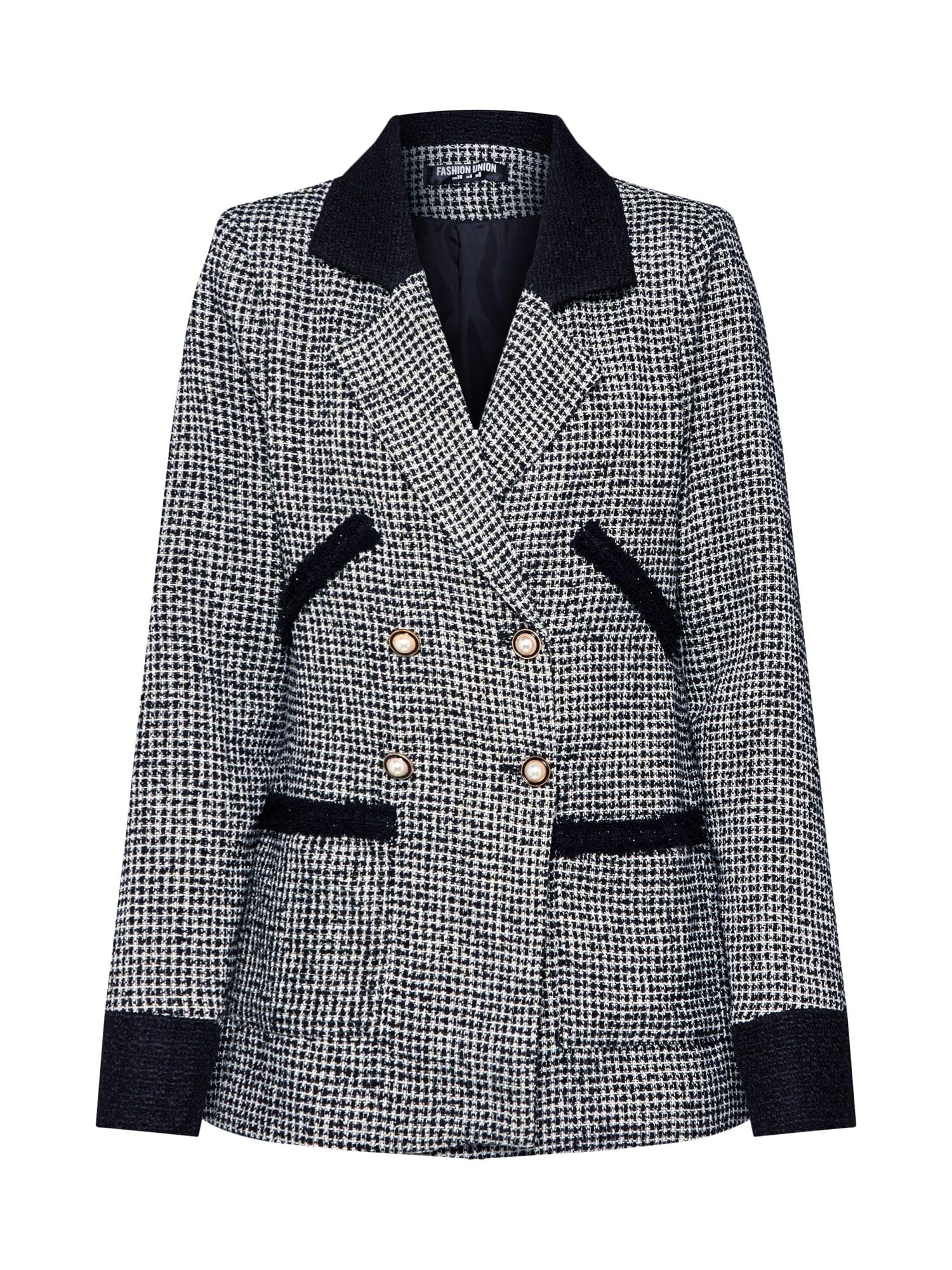 Fashion Union Blazer švarkas 'ARLIE' juoda / balta