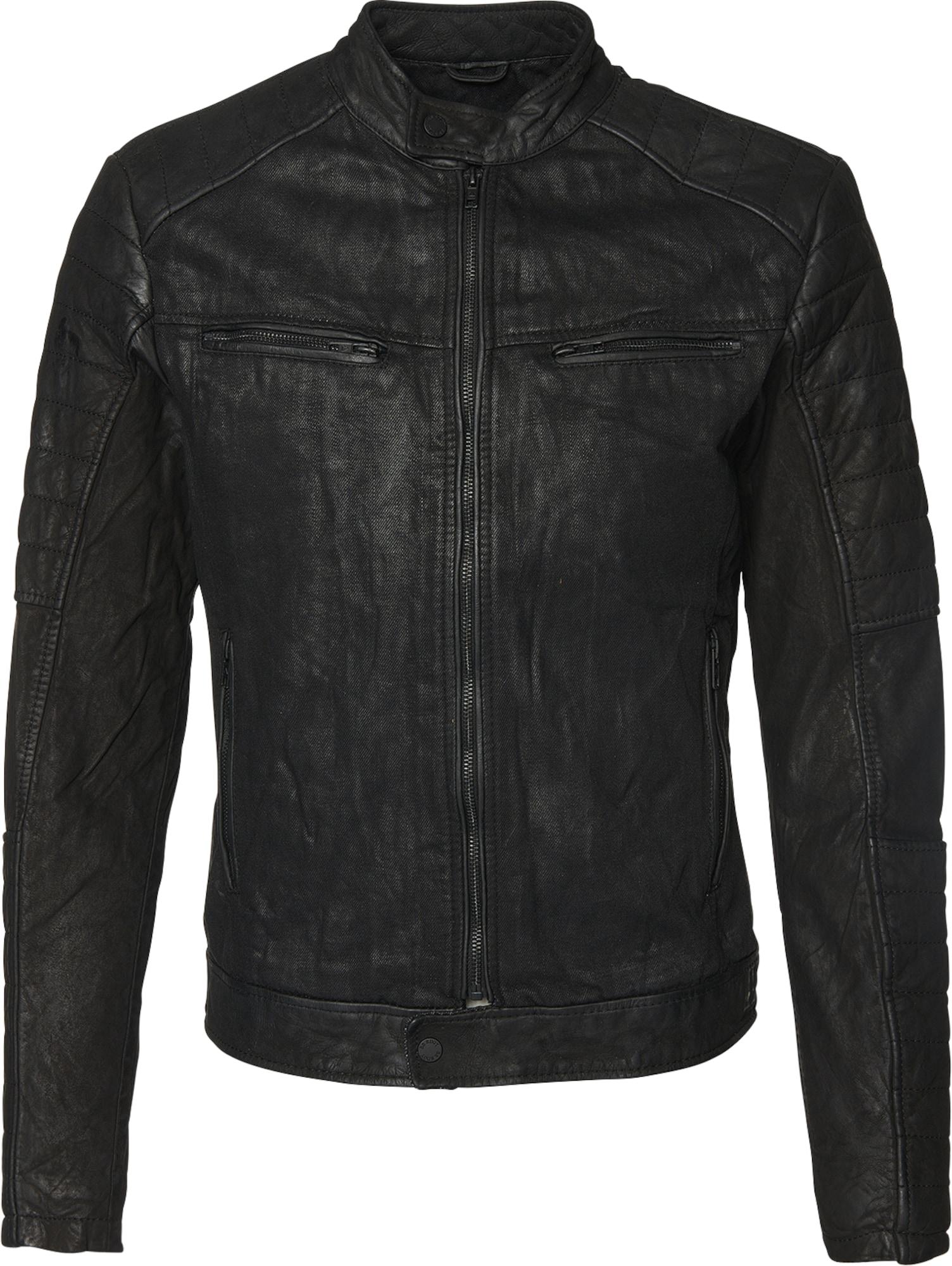 be edgy lederjacke mit jeans partien 39 andy d 39 in schwarz. Black Bedroom Furniture Sets. Home Design Ideas