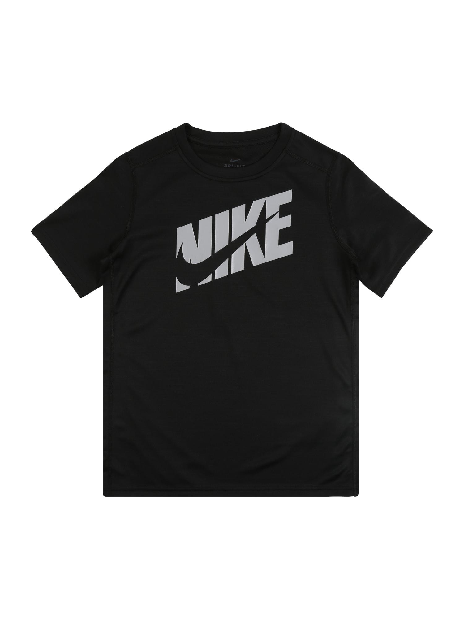 NIKE Sportiniai marškinėliai juoda / pilka