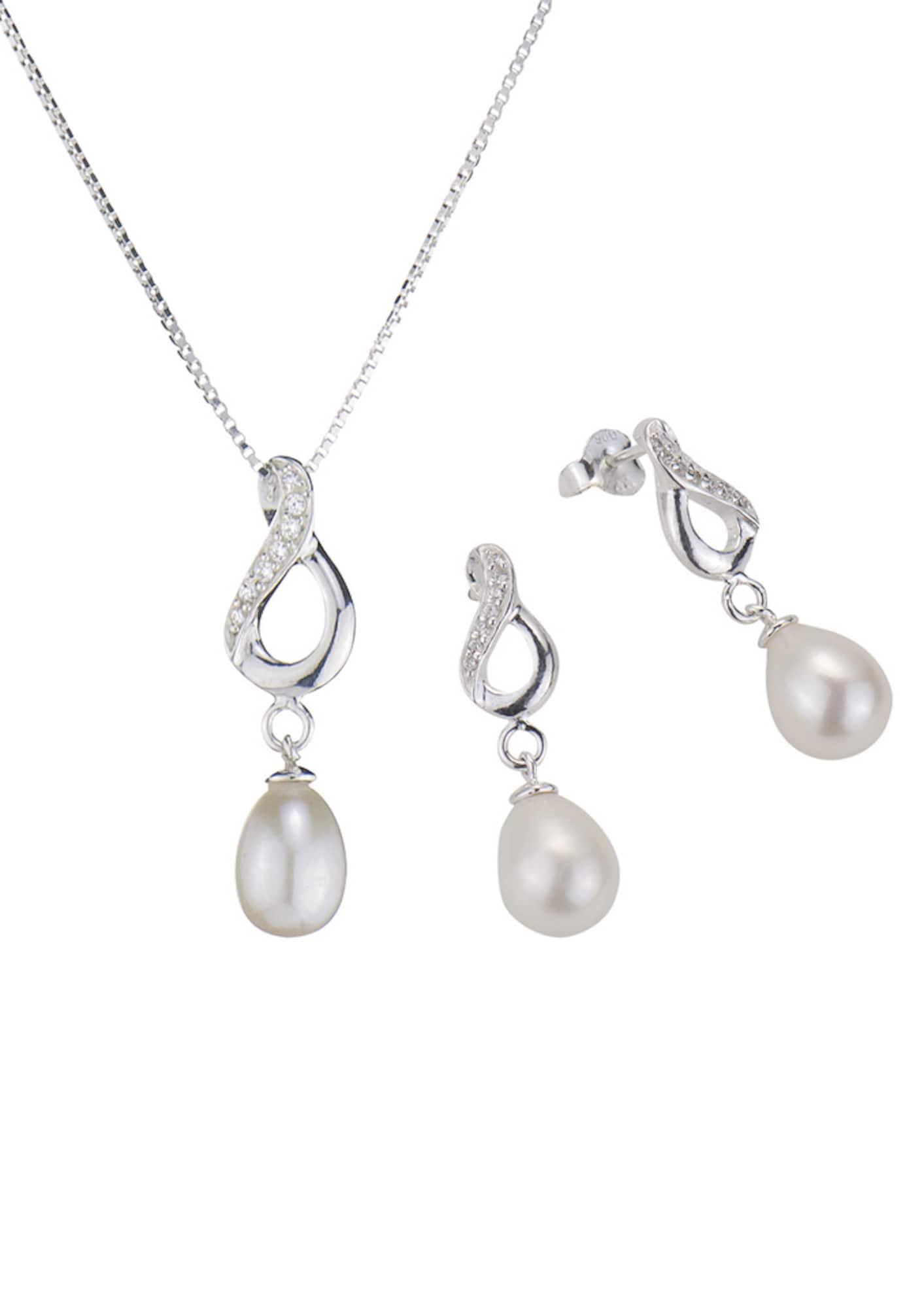 Schmucksets für Frauen - FIRETTI firetti Schmuckset Halskette und Ohrstecker mit Perle und funkelnden Kristallsteinen (Set 4tlg.) silber  - Onlineshop ABOUT YOU