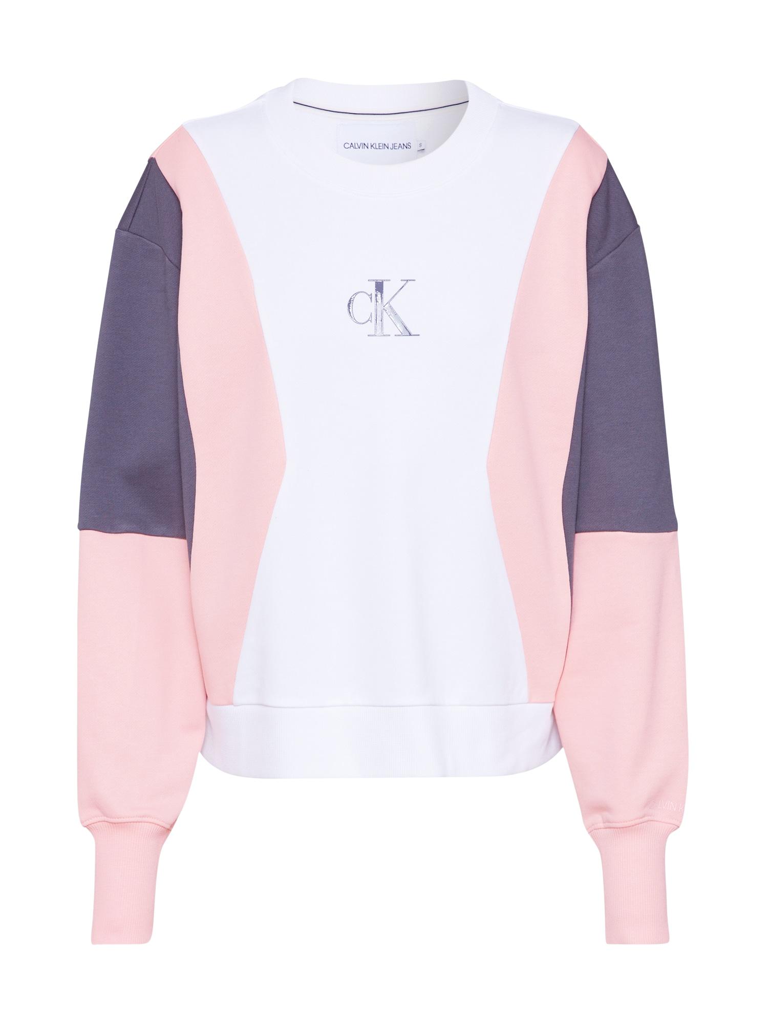 Calvin Klein Jeans Megztinis be užsegimo balta / rožių spalva / pilka