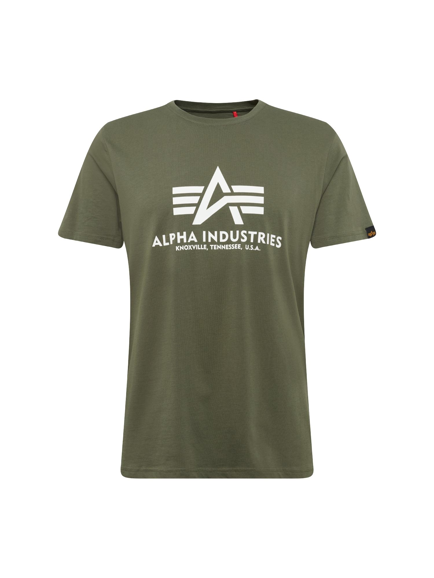 ALPHA INDUSTRIES Marškinėliai alyvuogių spalva / balta