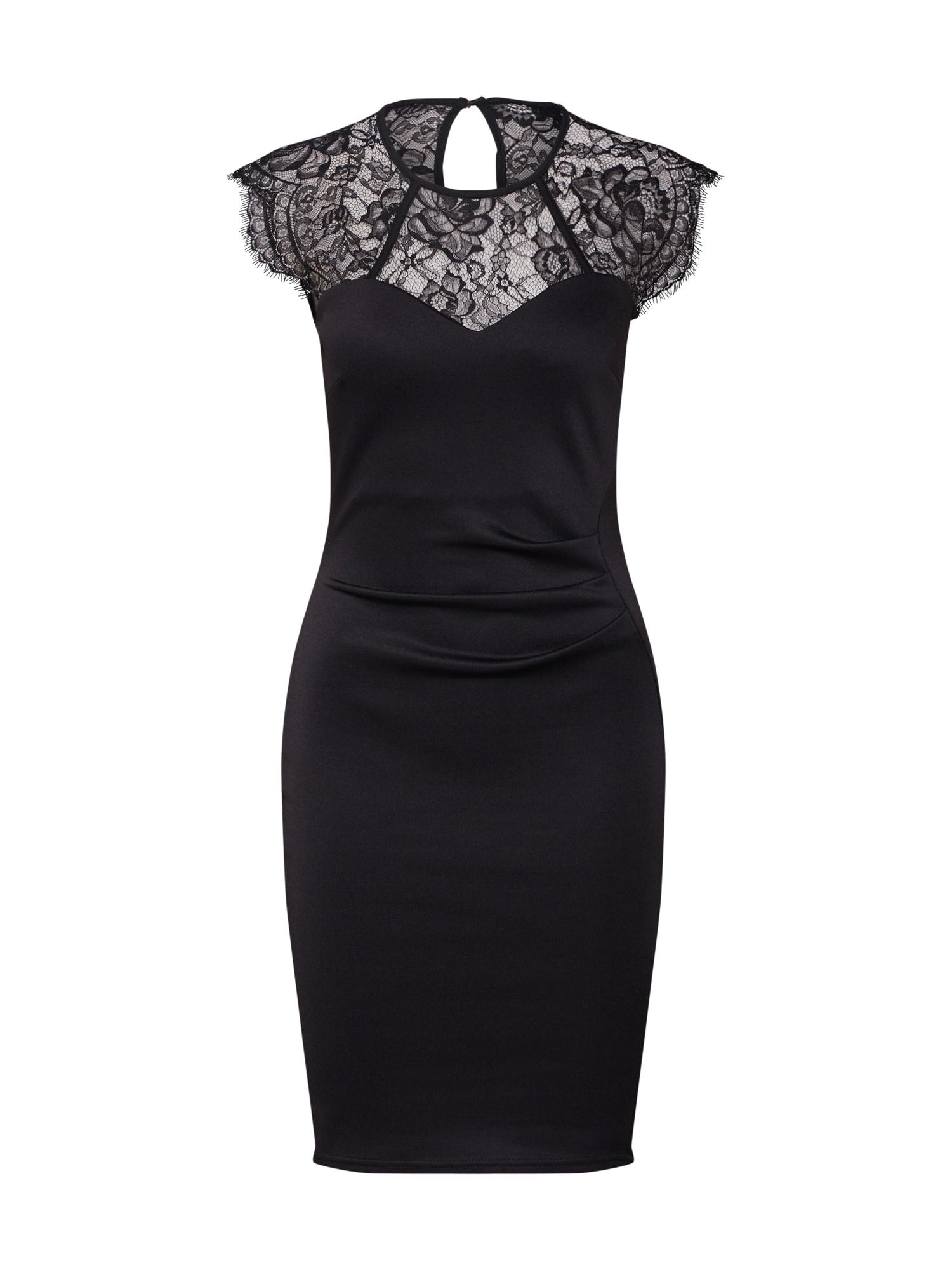 Koktejlové šaty LACE YOKE PENCIL černá Dorothy Perkins