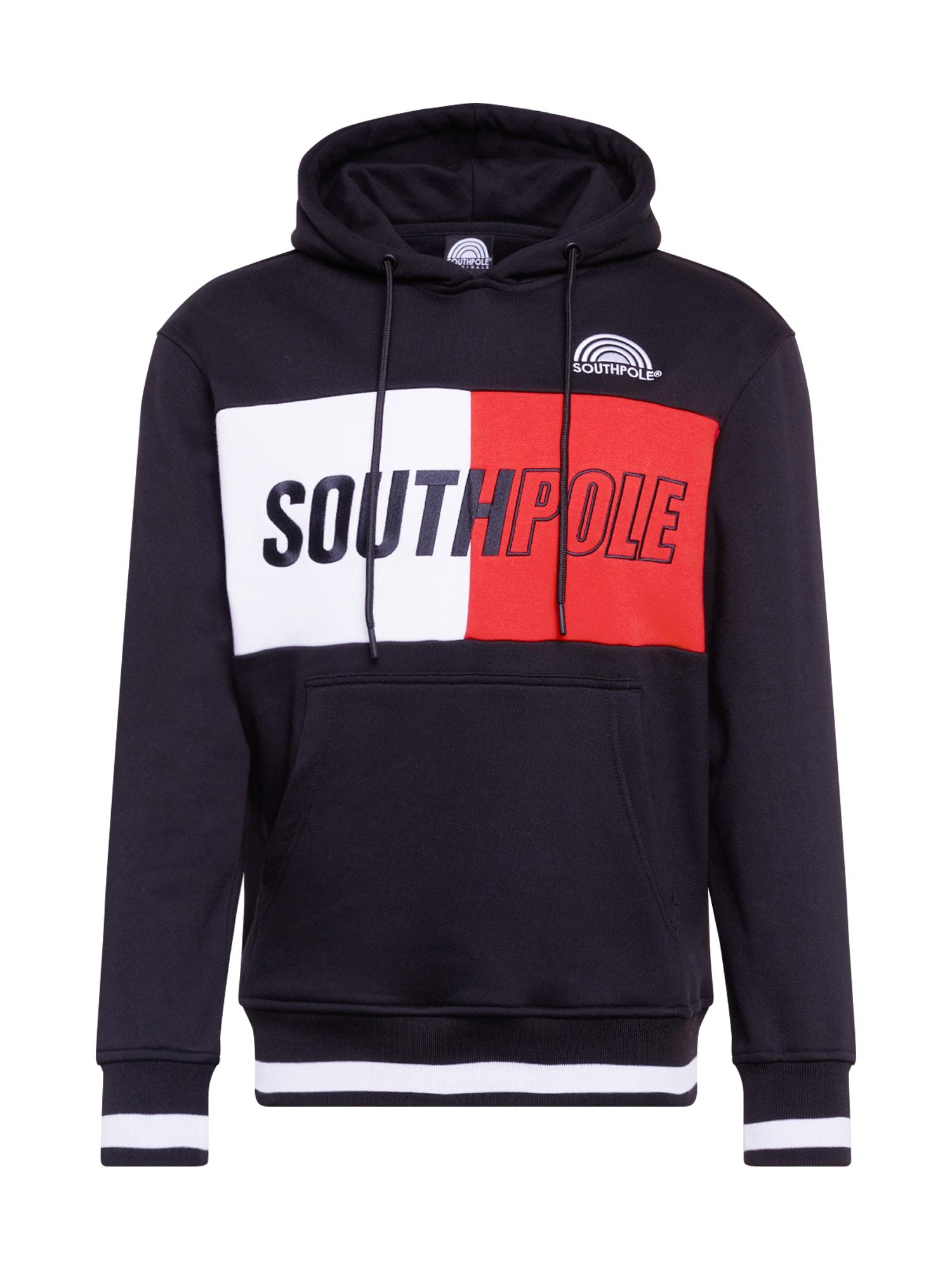 SOUTHPOLE Megztinis be užsegimo juoda / balta / raudona